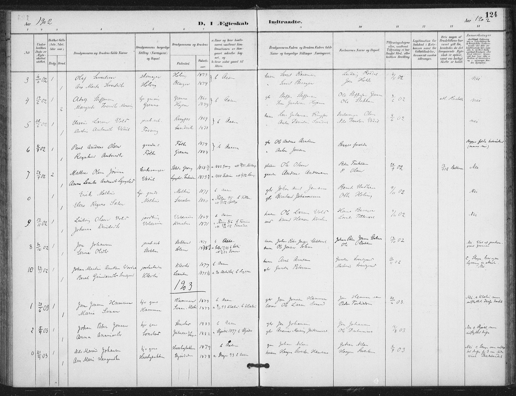 SAT, Ministerialprotokoller, klokkerbøker og fødselsregistre - Nord-Trøndelag, 714/L0131: Ministerialbok nr. 714A02, 1896-1918, s. 124