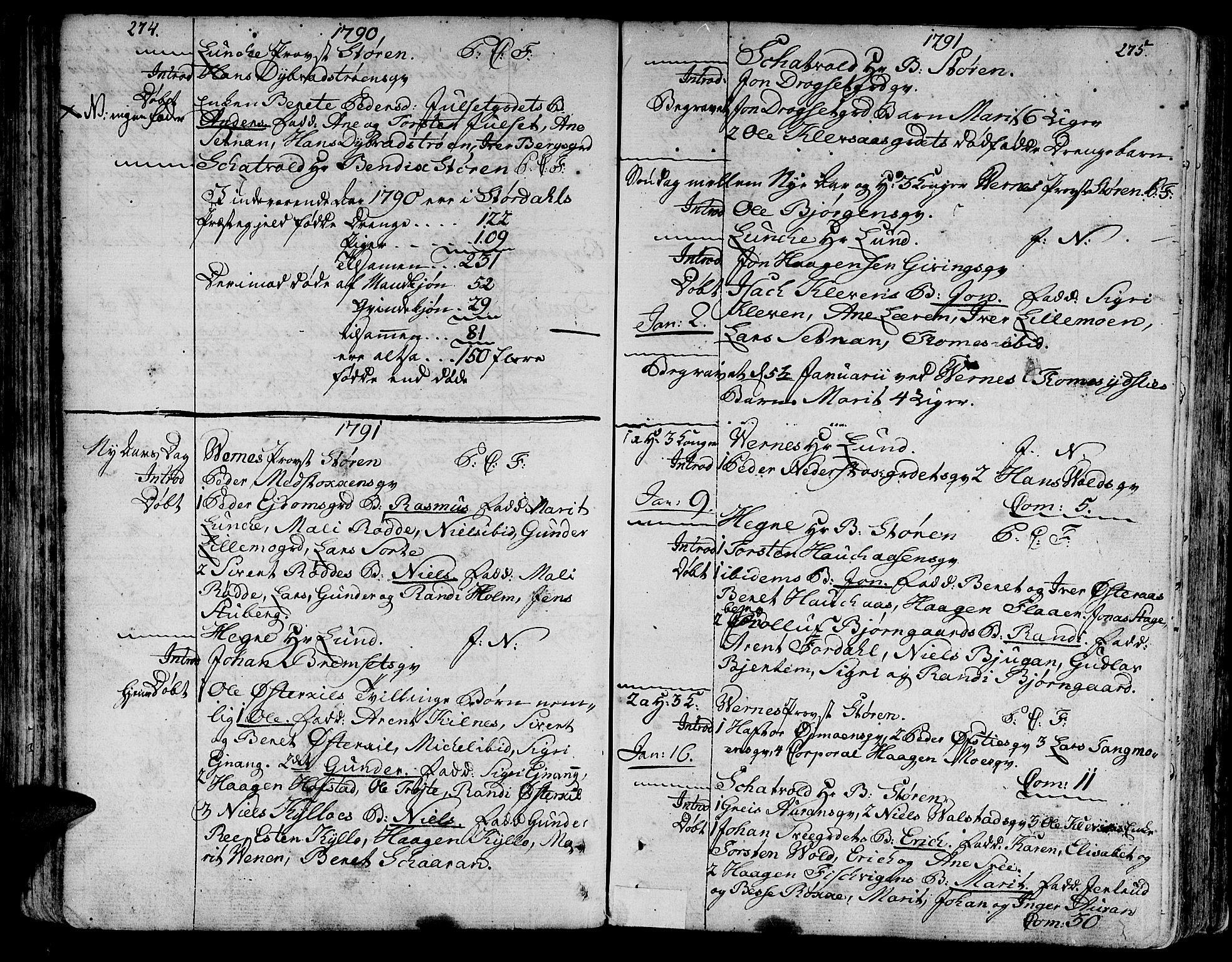 SAT, Ministerialprotokoller, klokkerbøker og fødselsregistre - Nord-Trøndelag, 709/L0059: Ministerialbok nr. 709A06, 1781-1797, s. 274-275