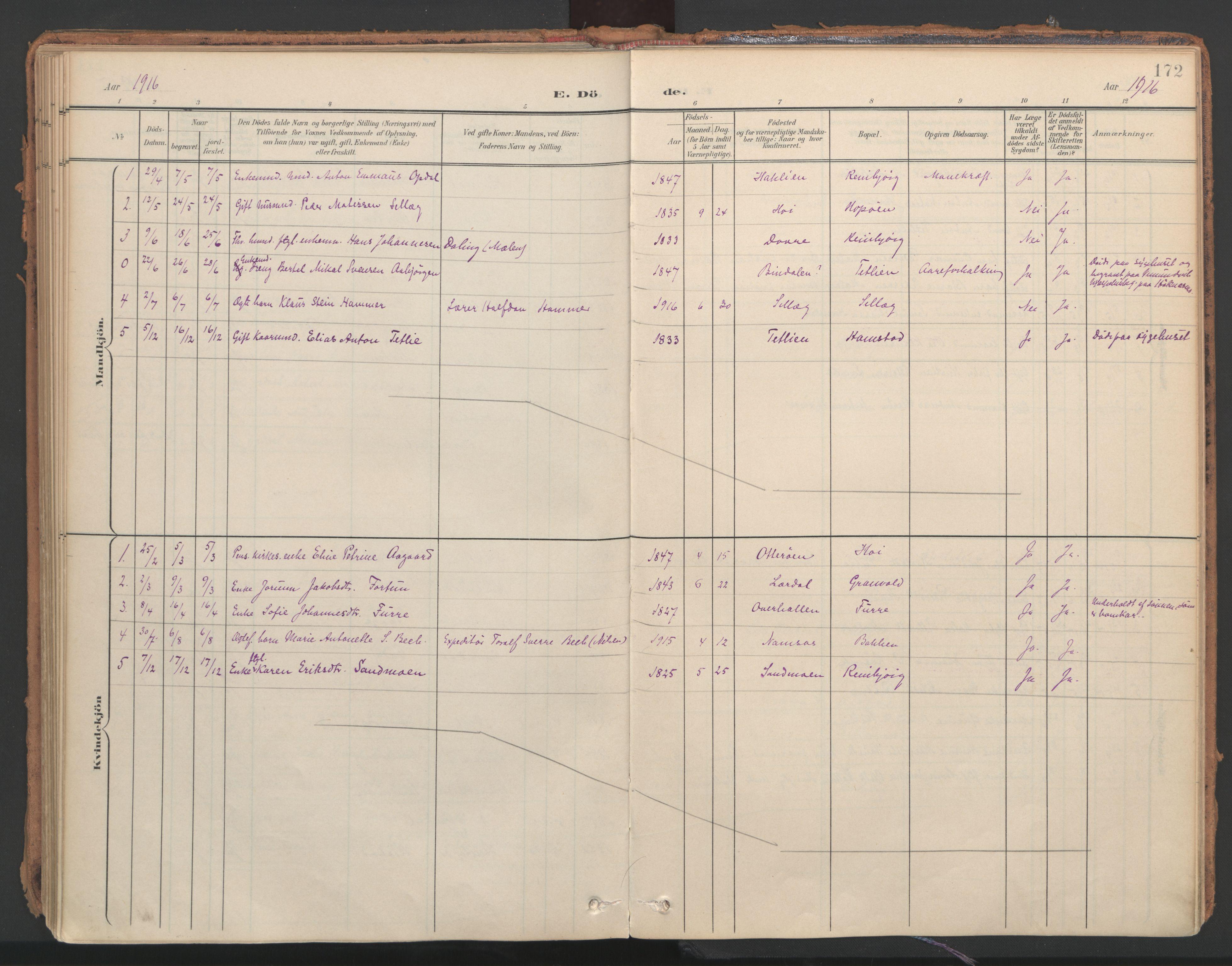 SAT, Ministerialprotokoller, klokkerbøker og fødselsregistre - Nord-Trøndelag, 766/L0564: Ministerialbok nr. 767A02, 1900-1932, s. 172