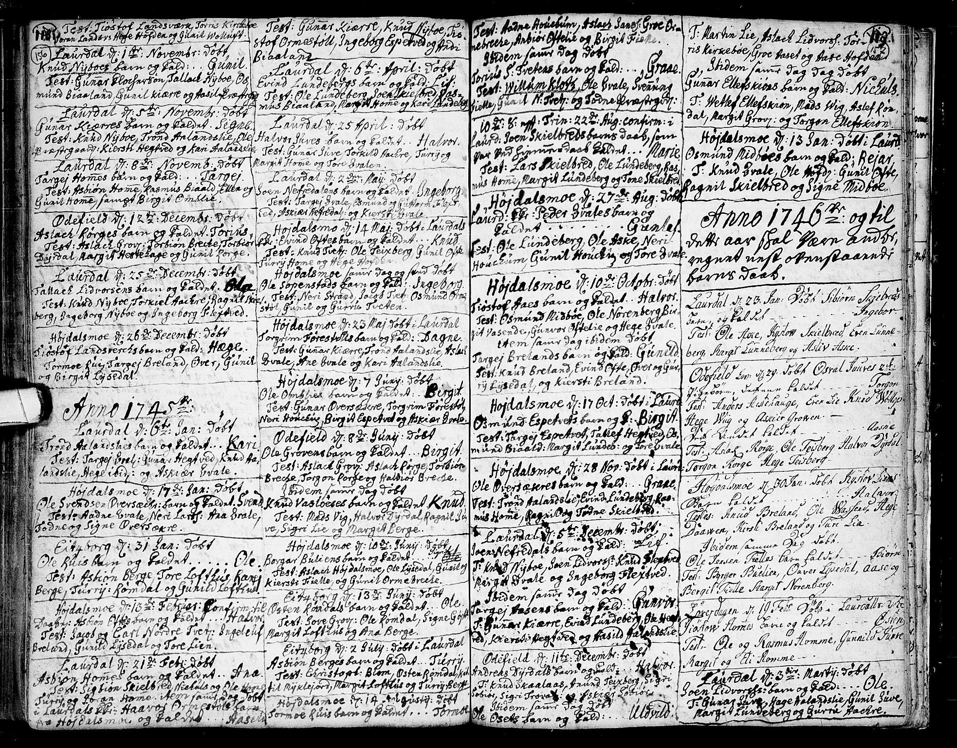 SAKO, Lårdal kirkebøker, F/Fa/L0002: Ministerialbok nr. I 2, 1734-1754, s. 156-157