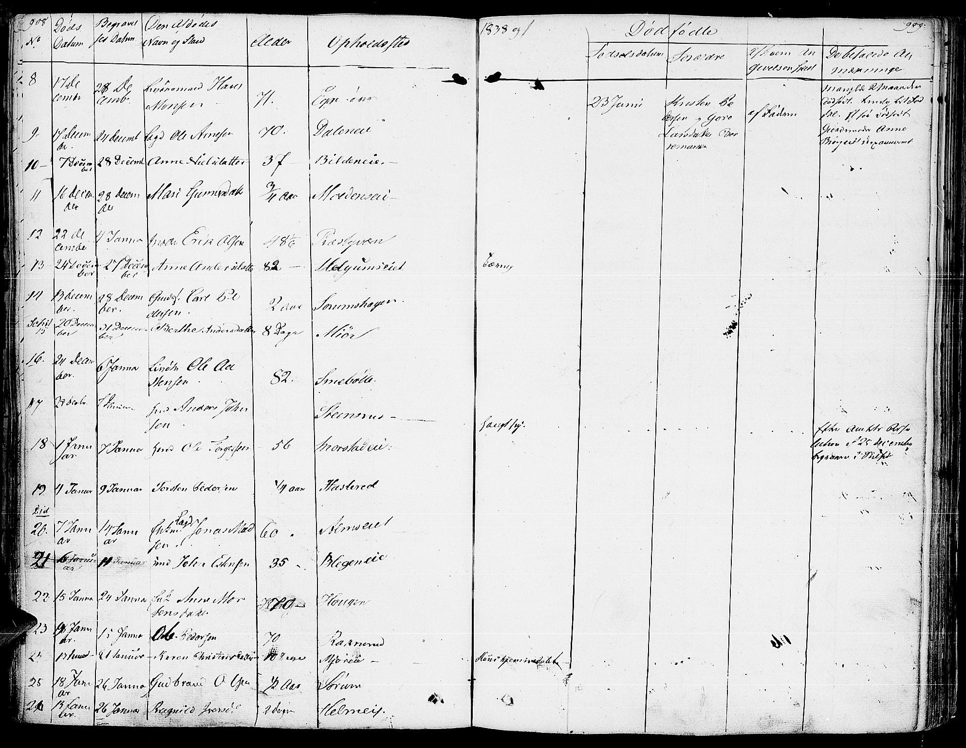 SAH, Gran prestekontor, Ministerialbok nr. 10, 1824-1842, s. 908-909