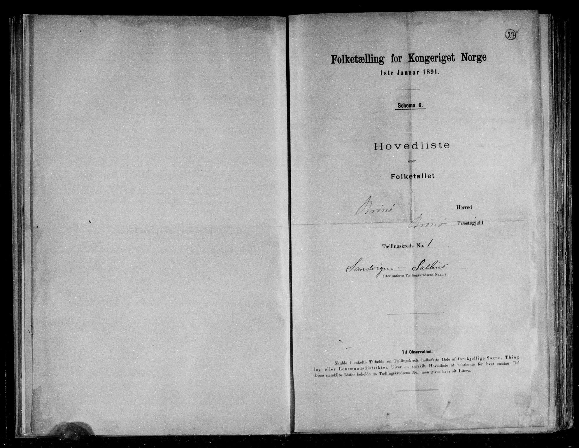 RA, Folketelling 1891 for 1814 Brønnøy herred, 1891, s. 4
