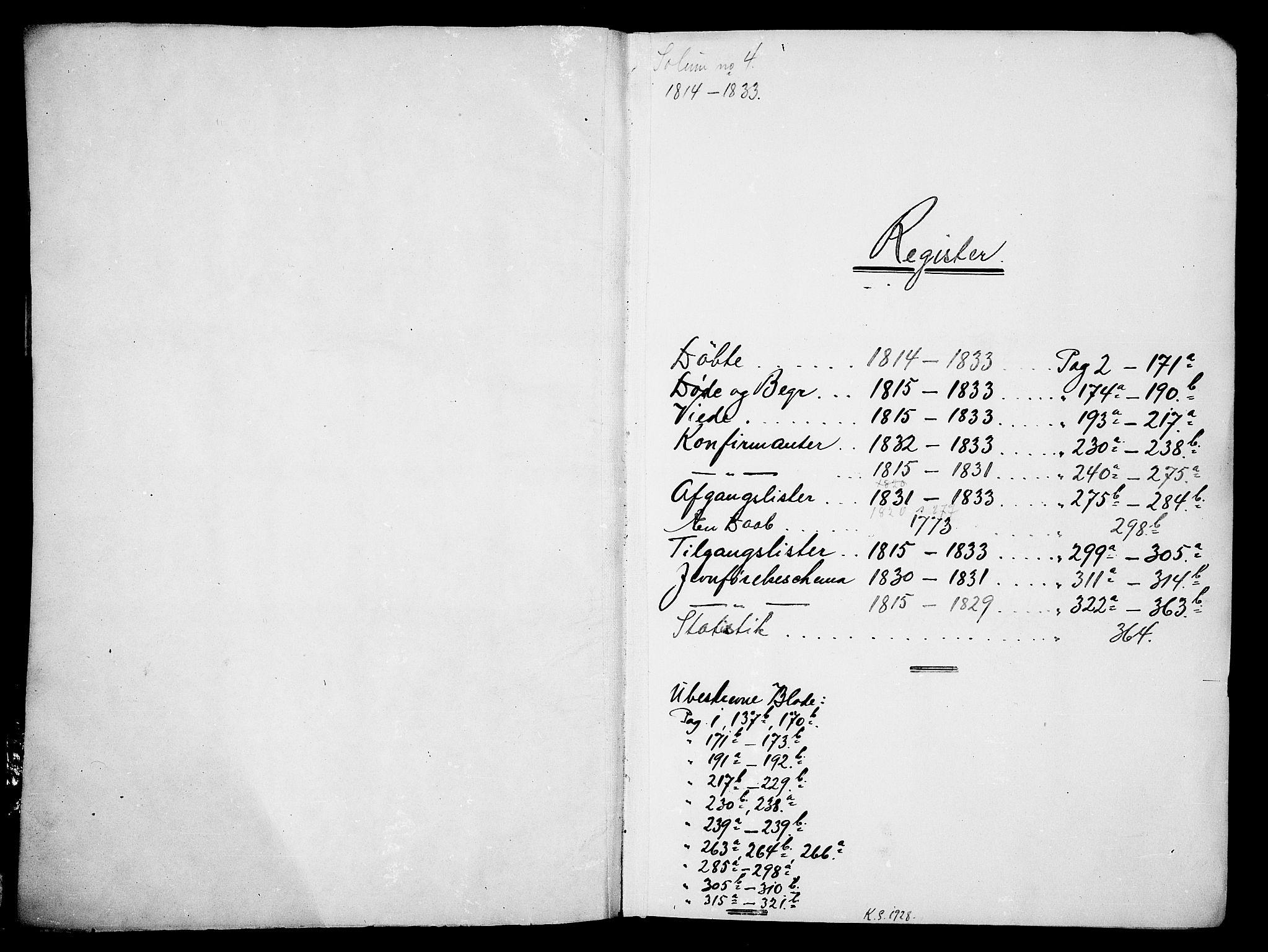 SAKO, Solum kirkebøker, G/Ga/L0001: Klokkerbok nr. I 1, 1814-1833