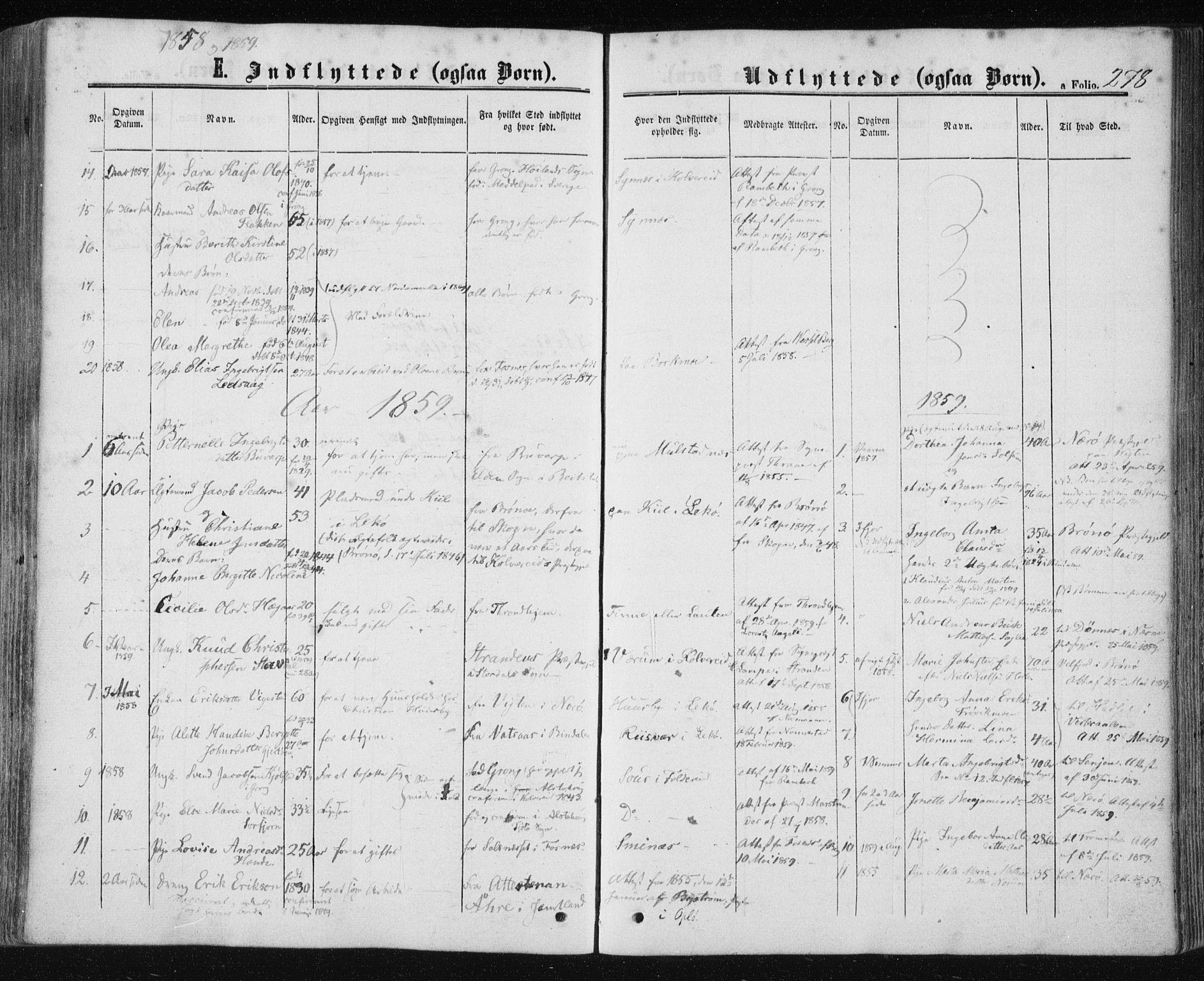 SAT, Ministerialprotokoller, klokkerbøker og fødselsregistre - Nord-Trøndelag, 780/L0641: Ministerialbok nr. 780A06, 1857-1874, s. 278