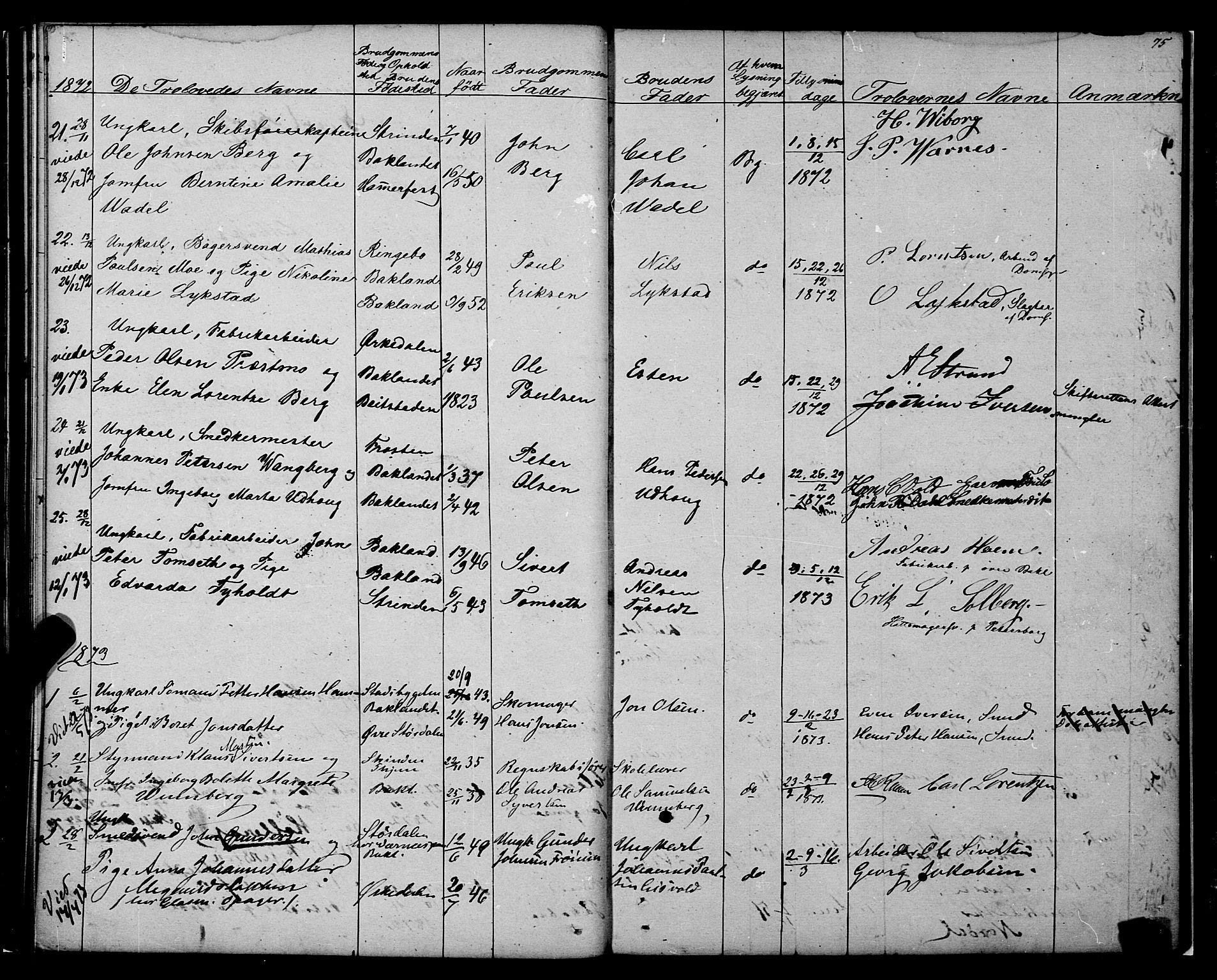 SAT, Ministerialprotokoller, klokkerbøker og fødselsregistre - Sør-Trøndelag, 604/L0187: Ministerialbok nr. 604A08, 1847-1878, s. 75