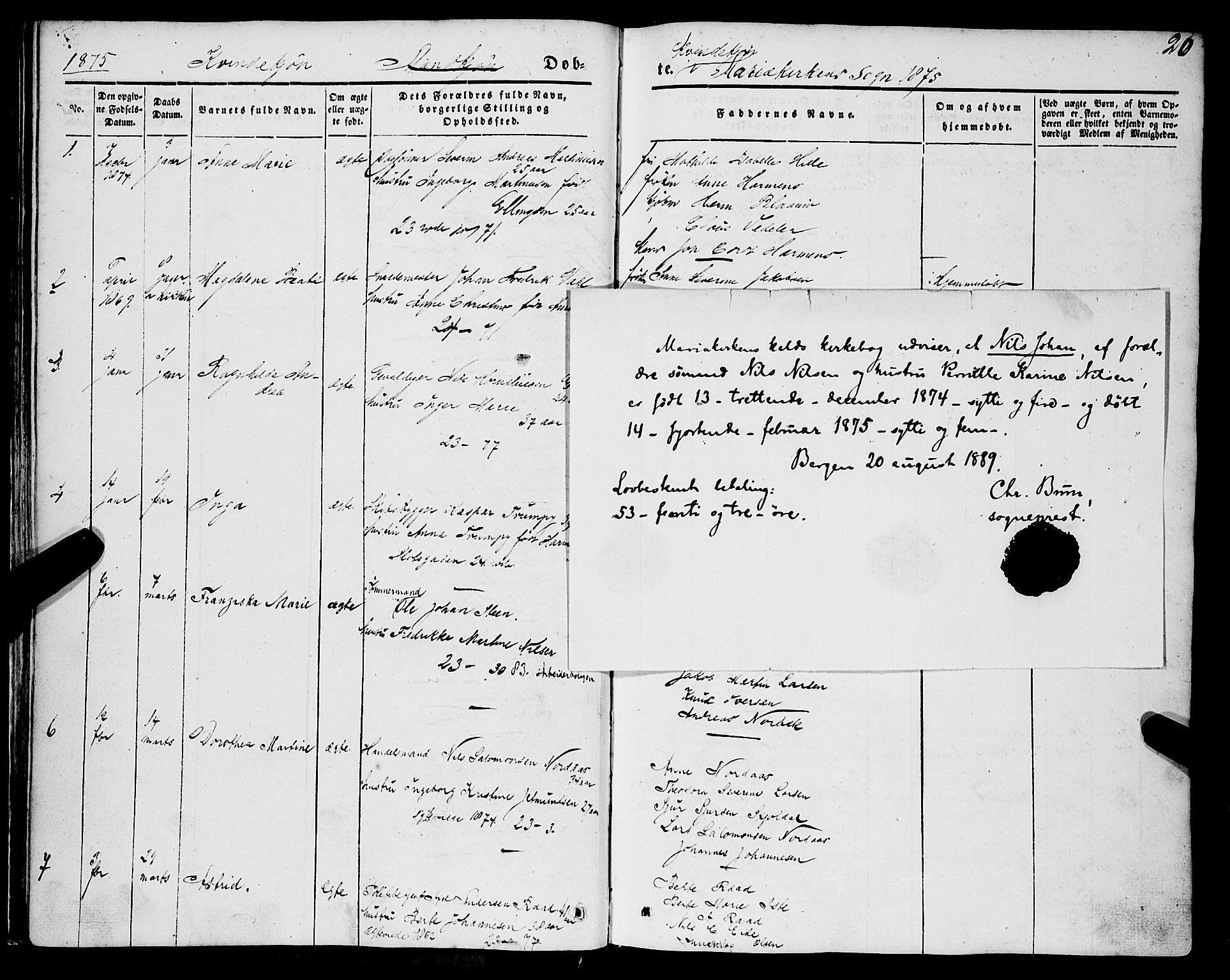 SAB, Mariakirken Sokneprestembete, H/Haa/L0006: Ministerialbok nr. A 6, 1846-1877, s. 20