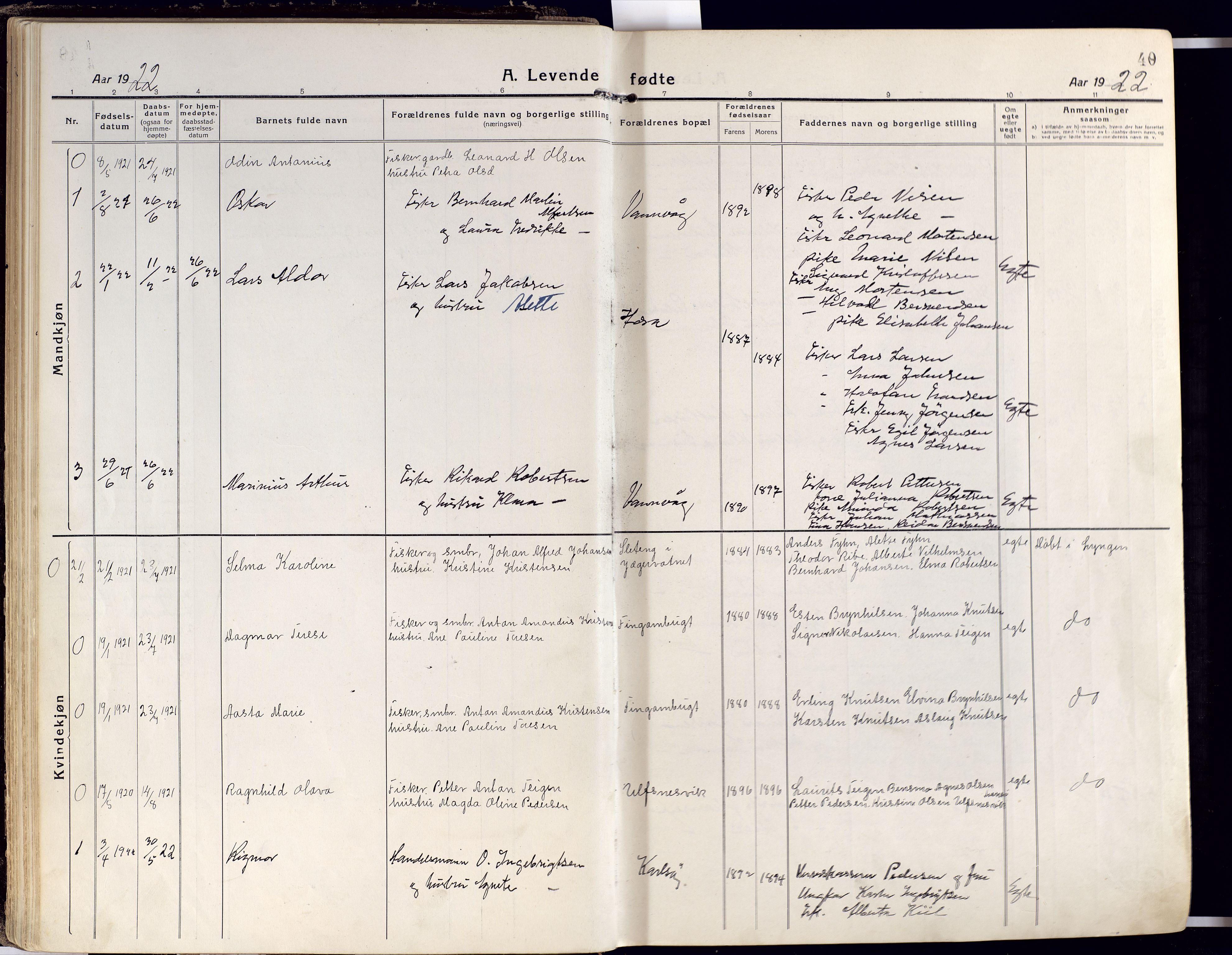 SATØ, Karlsøy sokneprestembete, Ministerialbok nr. 15, 1918-1929, s. 40