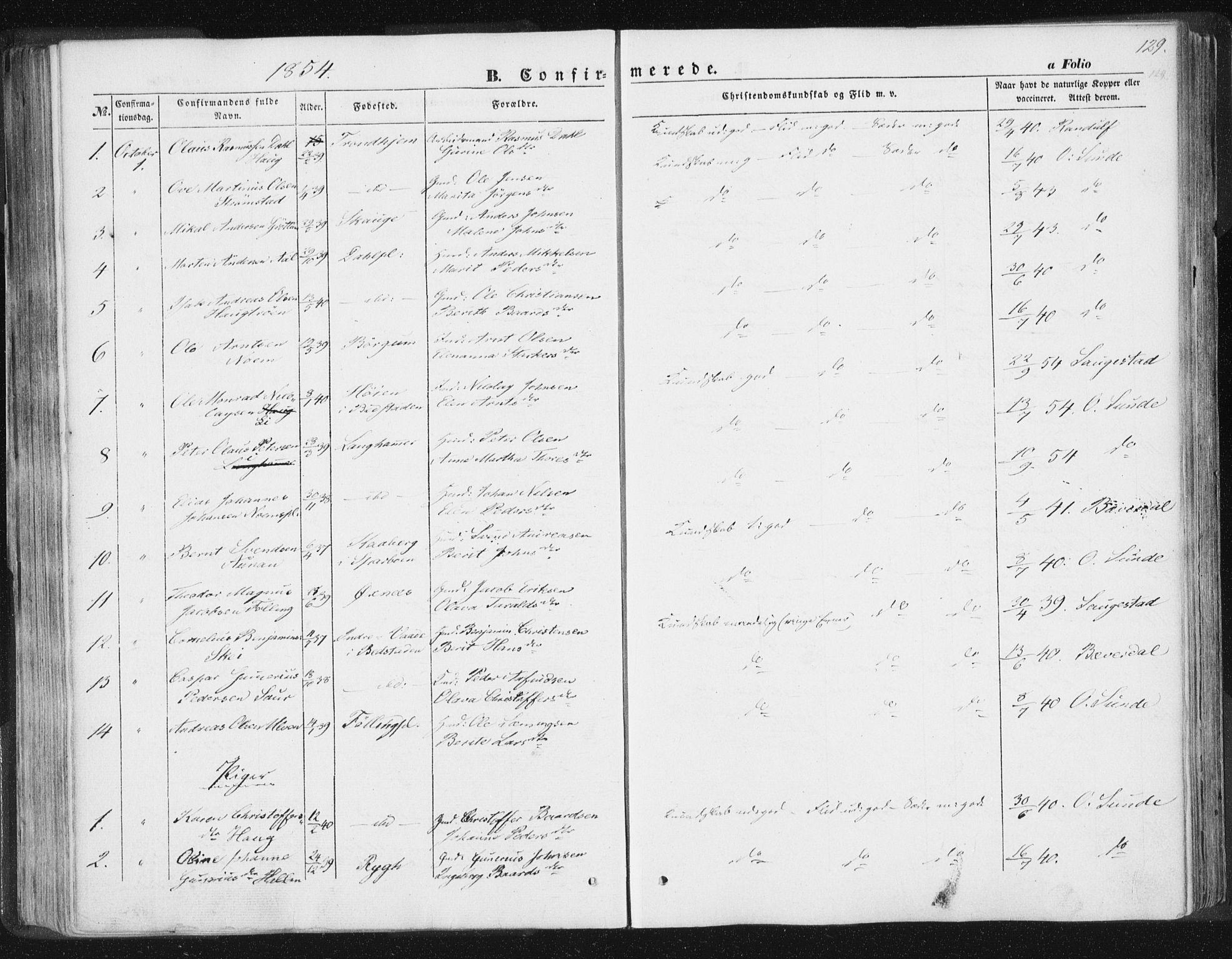 SAT, Ministerialprotokoller, klokkerbøker og fødselsregistre - Nord-Trøndelag, 746/L0446: Ministerialbok nr. 746A05, 1846-1859, s. 129