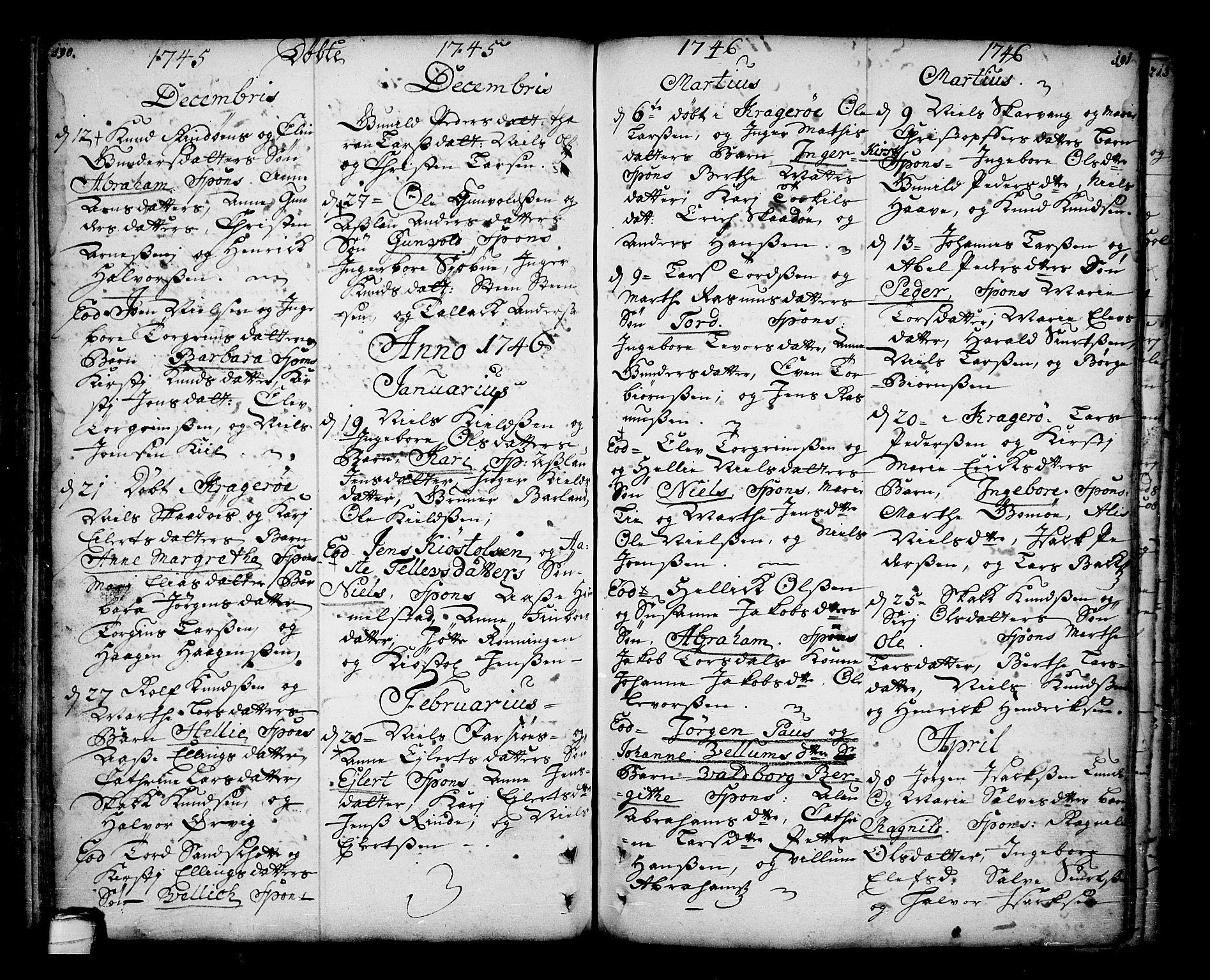 SAKO, Sannidal kirkebøker, F/Fa/L0001: Ministerialbok nr. 1, 1702-1766, s. 190-191