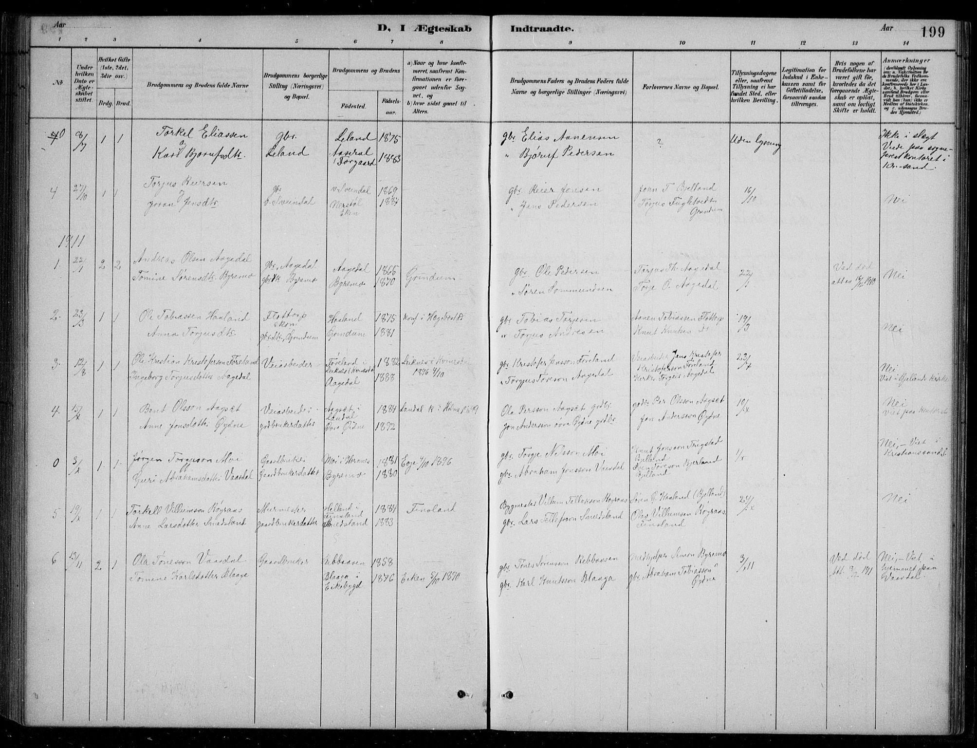 SAK, Bjelland sokneprestkontor, F/Fb/Fbc/L0003: Klokkerbok nr. B 3, 1887-1924, s. 199