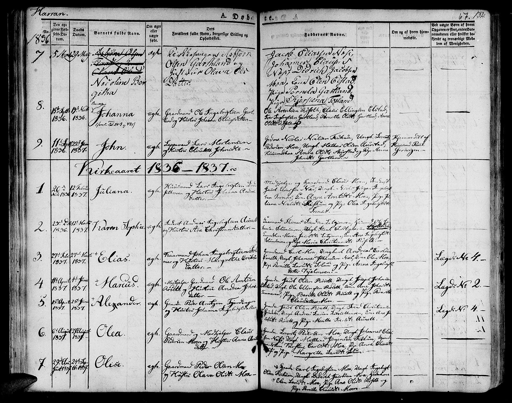 SAT, Ministerialprotokoller, klokkerbøker og fødselsregistre - Nord-Trøndelag, 758/L0510: Ministerialbok nr. 758A01 /3, 1821-1841, s. 67