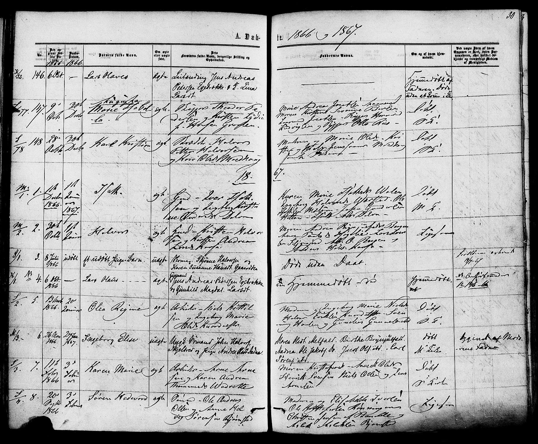 SAKO, Solum kirkebøker, F/Fa/L0008: Ministerialbok nr. I 8, 1865-1876, s. 30