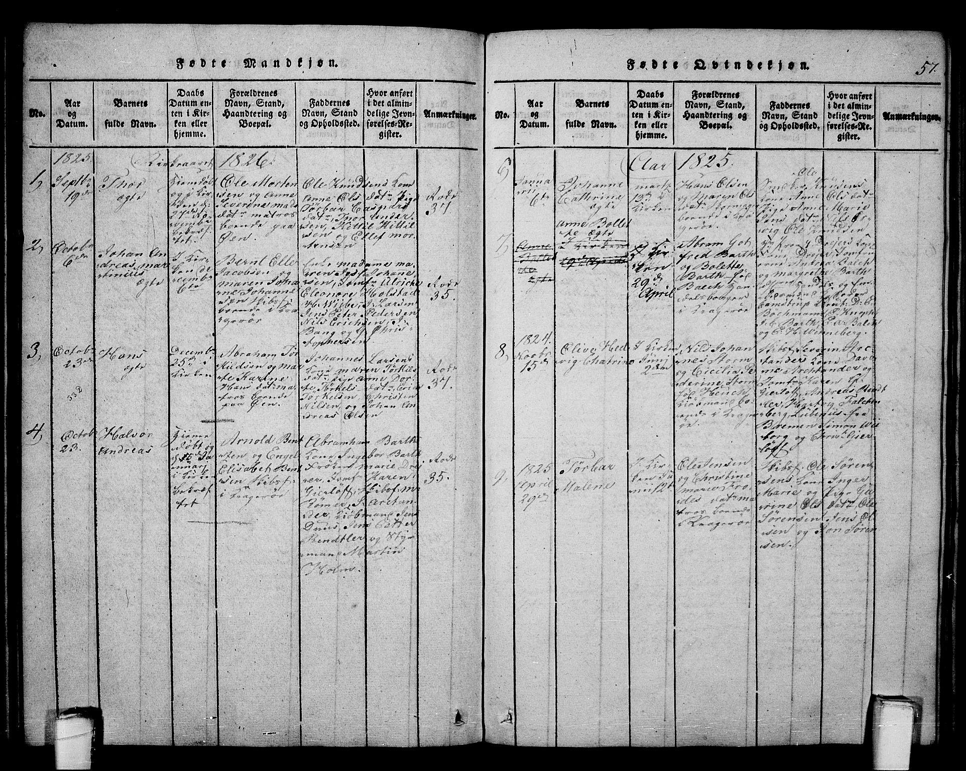 SAKO, Kragerø kirkebøker, F/Fa/L0004: Ministerialbok nr. 4, 1814-1831, s. 57