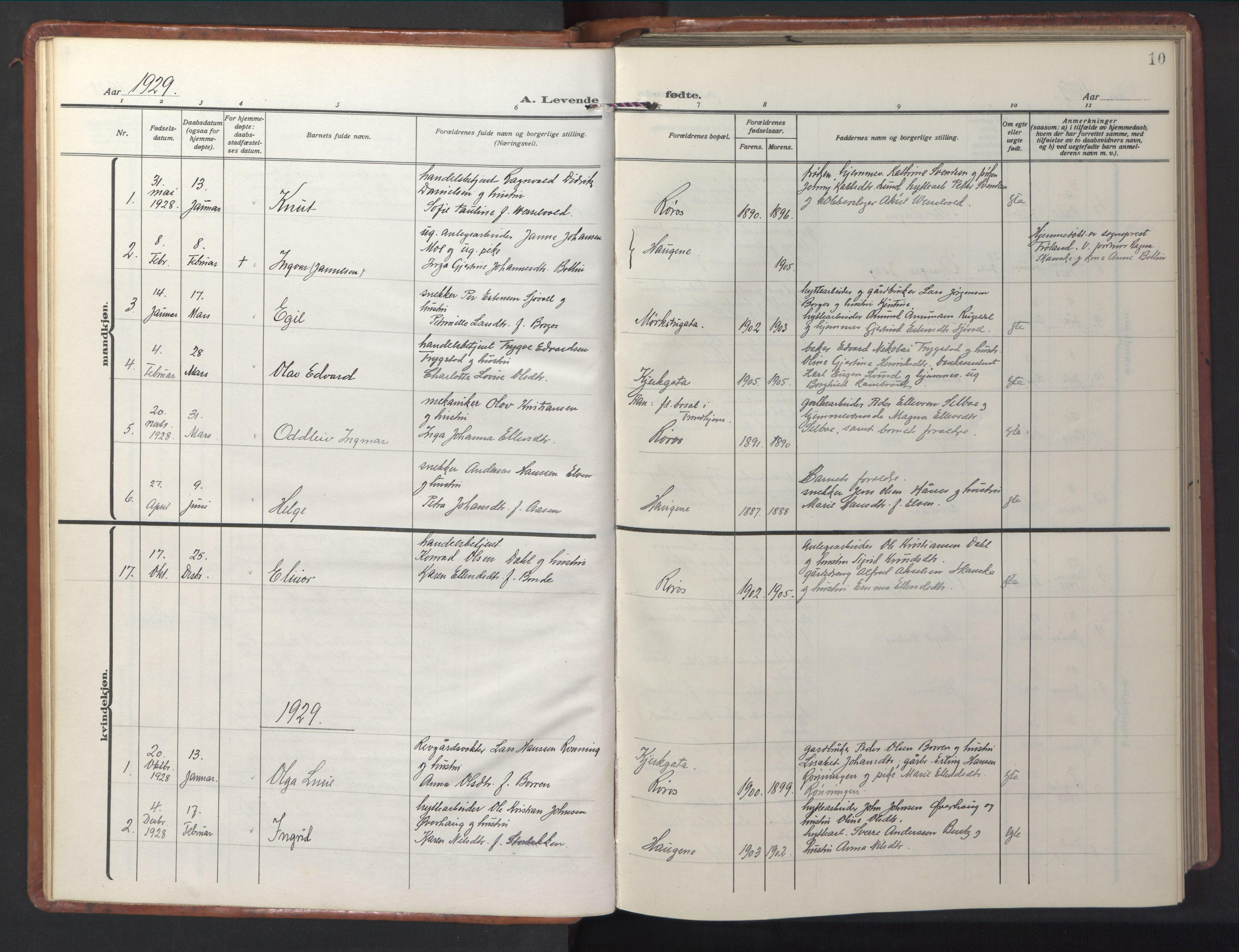 SAT, Ministerialprotokoller, klokkerbøker og fødselsregistre - Sør-Trøndelag, 681/L0943: Klokkerbok nr. 681C07, 1926-1954, s. 10