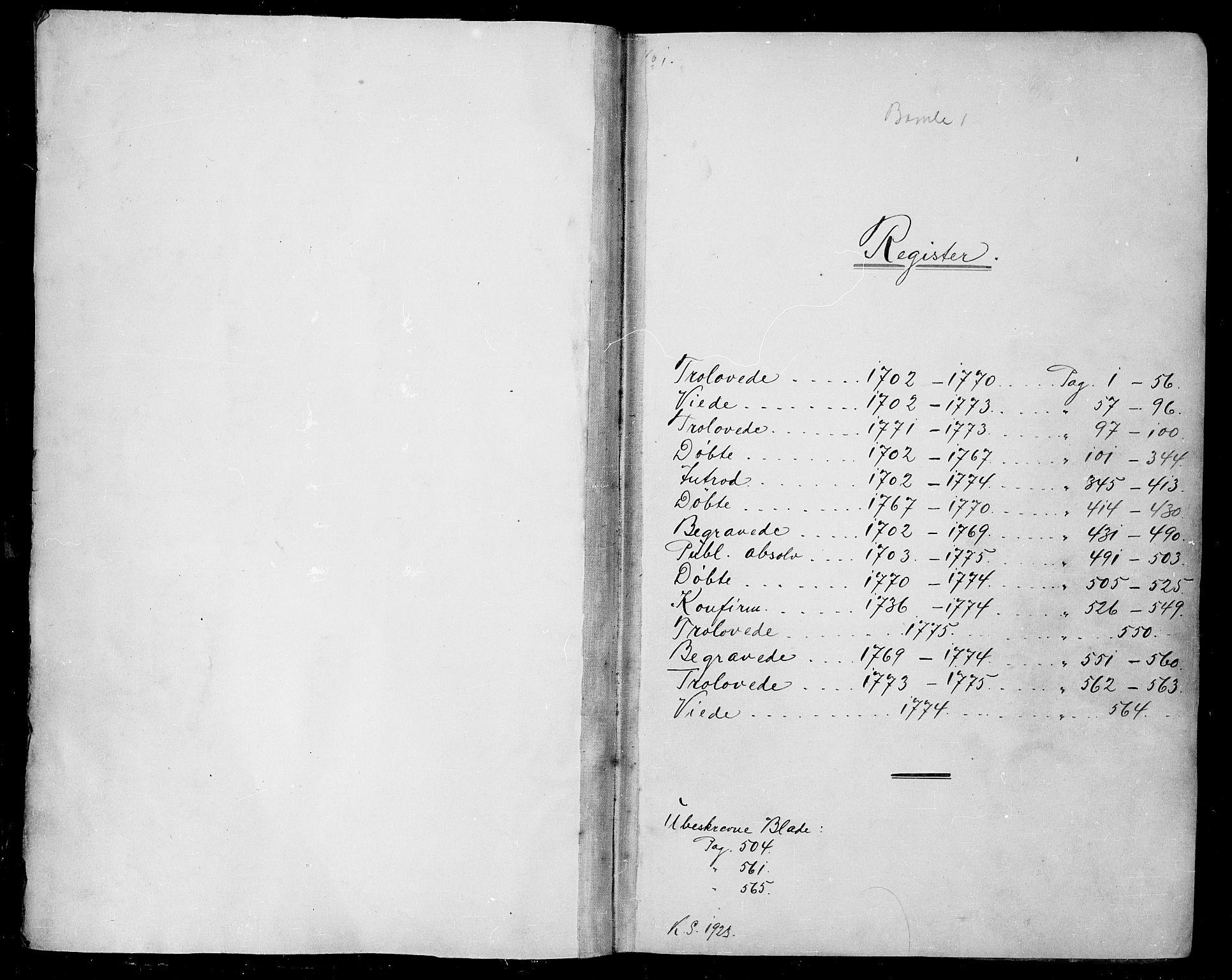 SAKO, Bamble kirkebøker, F/Fa/L0001: Ministerialbok nr. I 1, 1702-1774