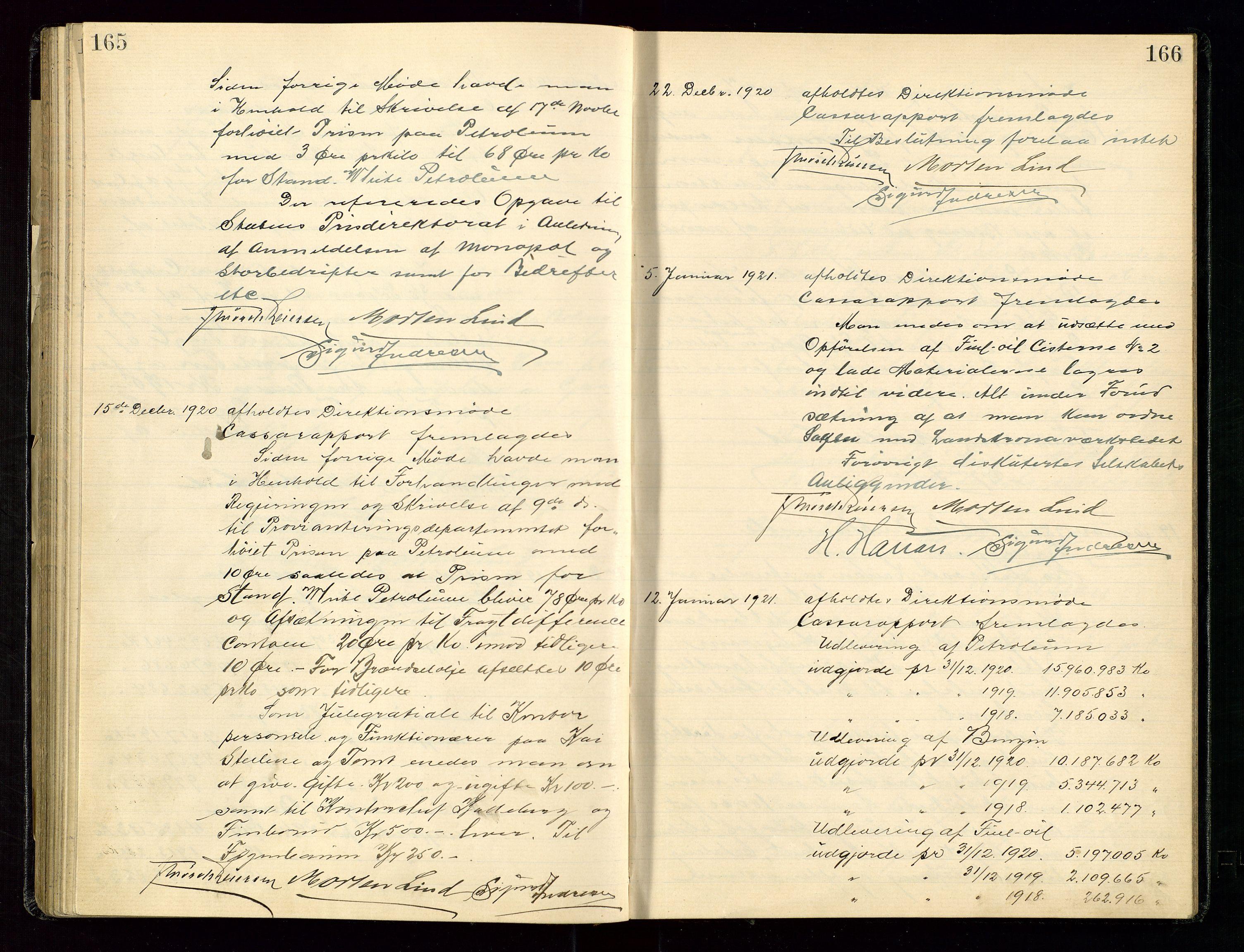 SAST, PA 1534 - Østlandske Petroleumscompagni A/S, A/Aa/L0003: Direksjonsprotokoller, 1916-1922, s. 165-166