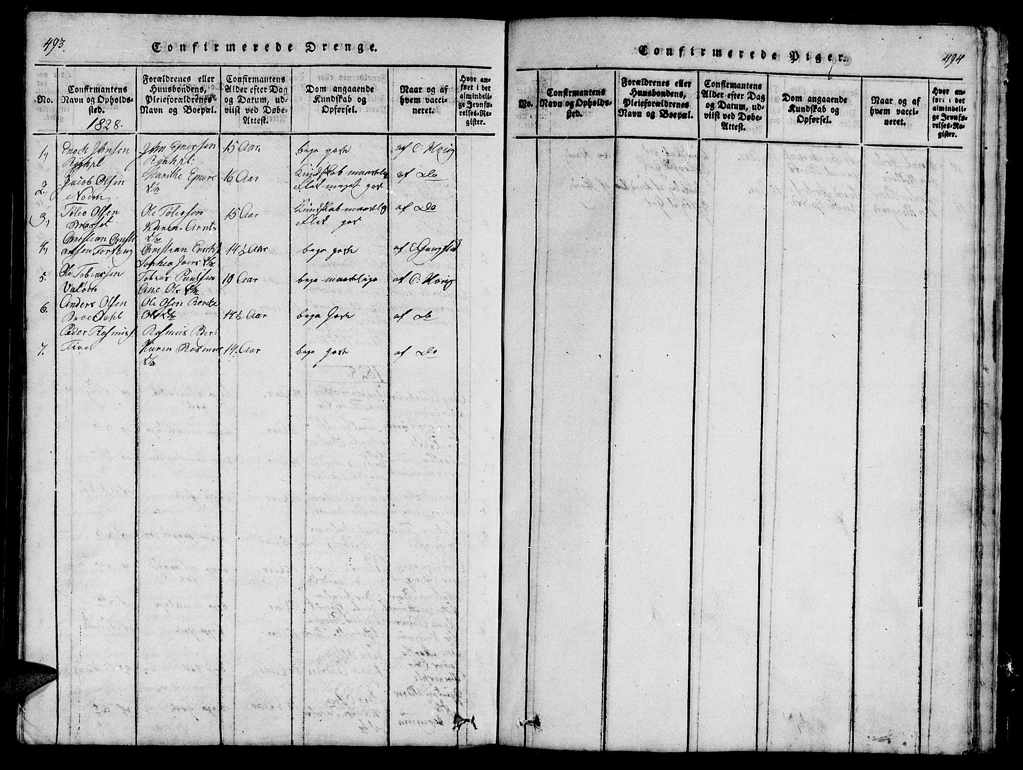 SAT, Ministerialprotokoller, klokkerbøker og fødselsregistre - Nord-Trøndelag, 747/L0459: Klokkerbok nr. 747C01, 1816-1842, s. 493-494