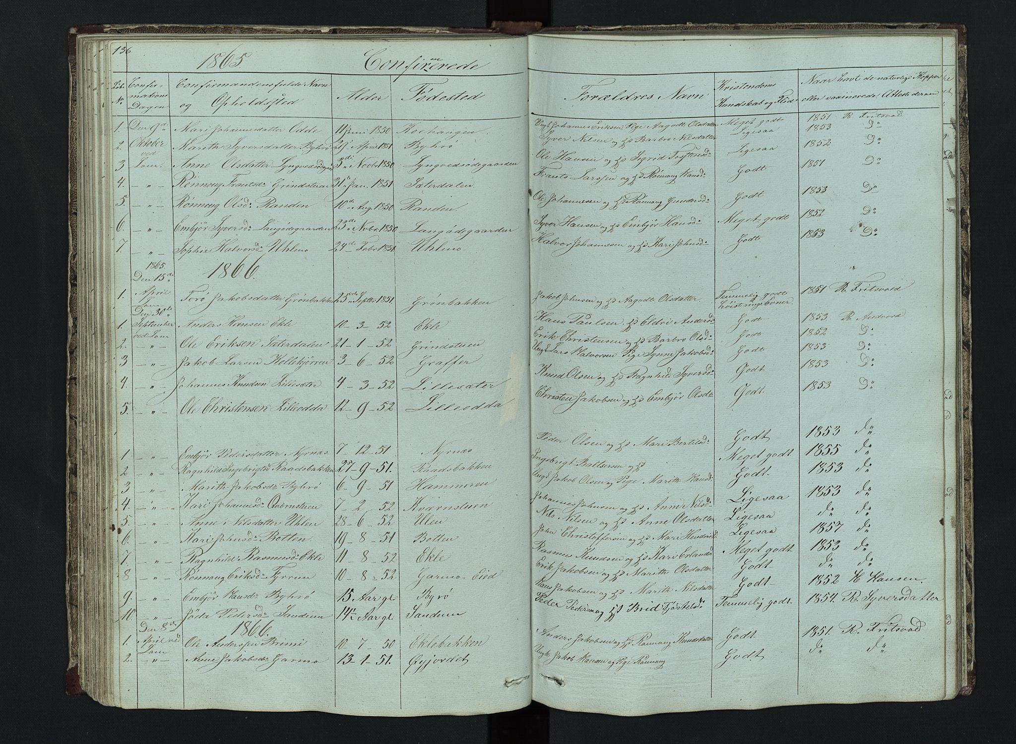 SAH, Lom prestekontor, L/L0014: Klokkerbok nr. 14, 1845-1876, s. 136-137