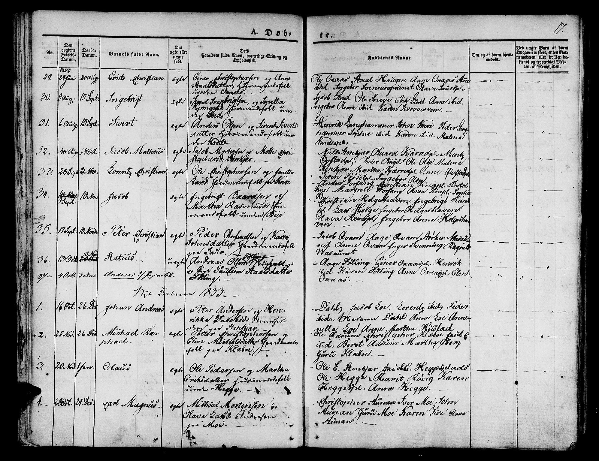 SAT, Ministerialprotokoller, klokkerbøker og fødselsregistre - Nord-Trøndelag, 746/L0445: Ministerialbok nr. 746A04, 1826-1846, s. 17