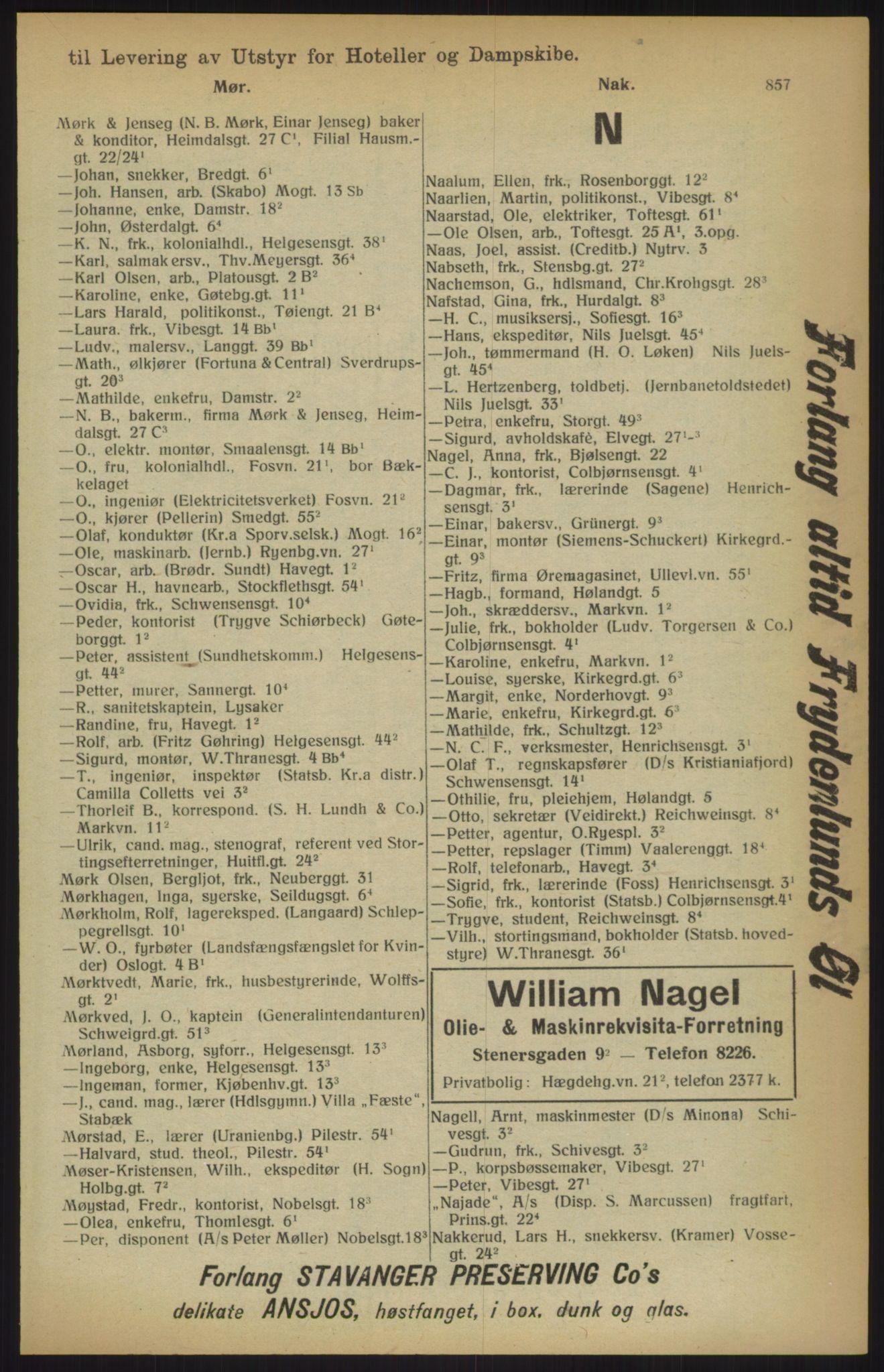 RA, Kristiania adressebok (publikasjon)*, 1915, s. 857
