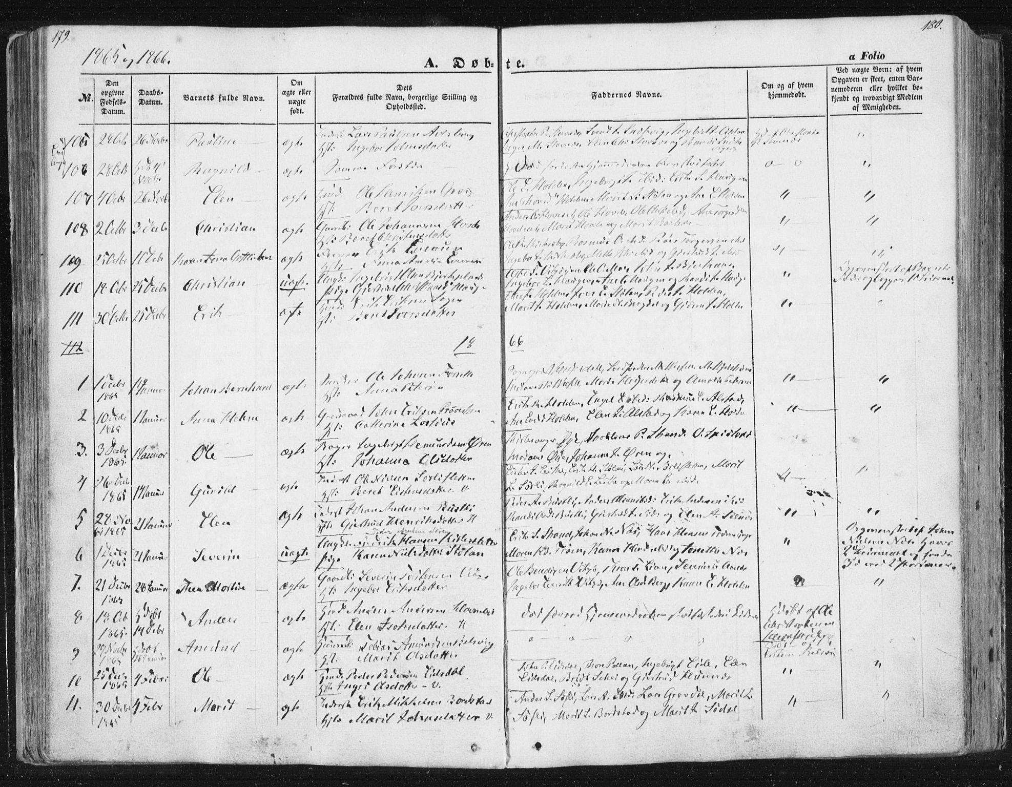 SAT, Ministerialprotokoller, klokkerbøker og fødselsregistre - Sør-Trøndelag, 630/L0494: Ministerialbok nr. 630A07, 1852-1868, s. 179-180