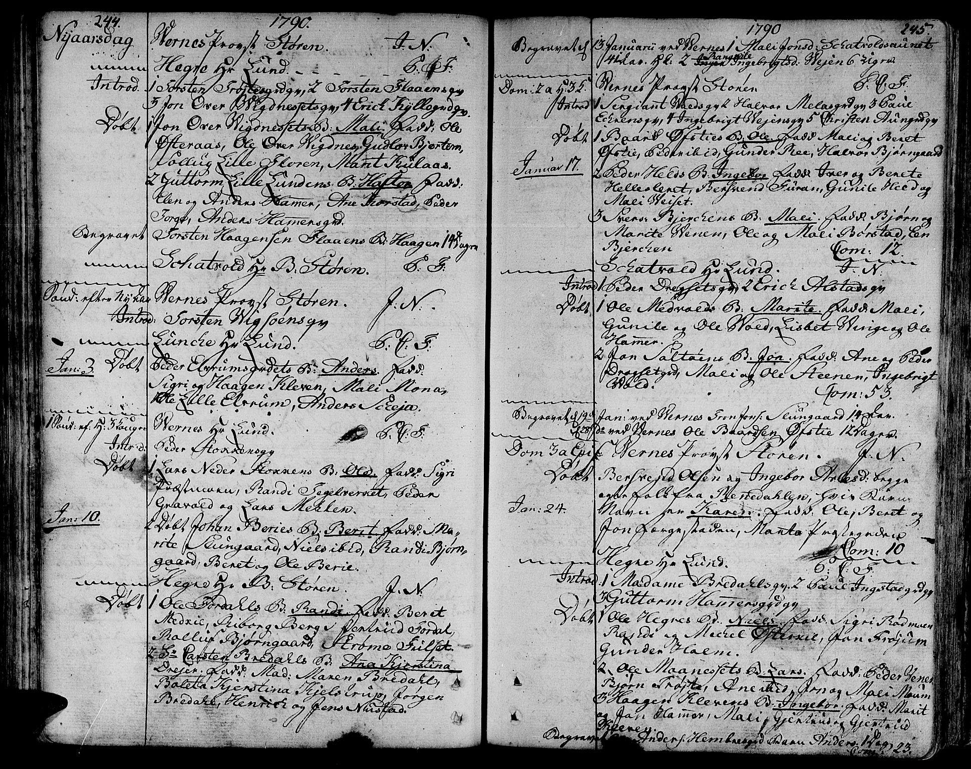 SAT, Ministerialprotokoller, klokkerbøker og fødselsregistre - Nord-Trøndelag, 709/L0059: Ministerialbok nr. 709A06, 1781-1797, s. 244-245