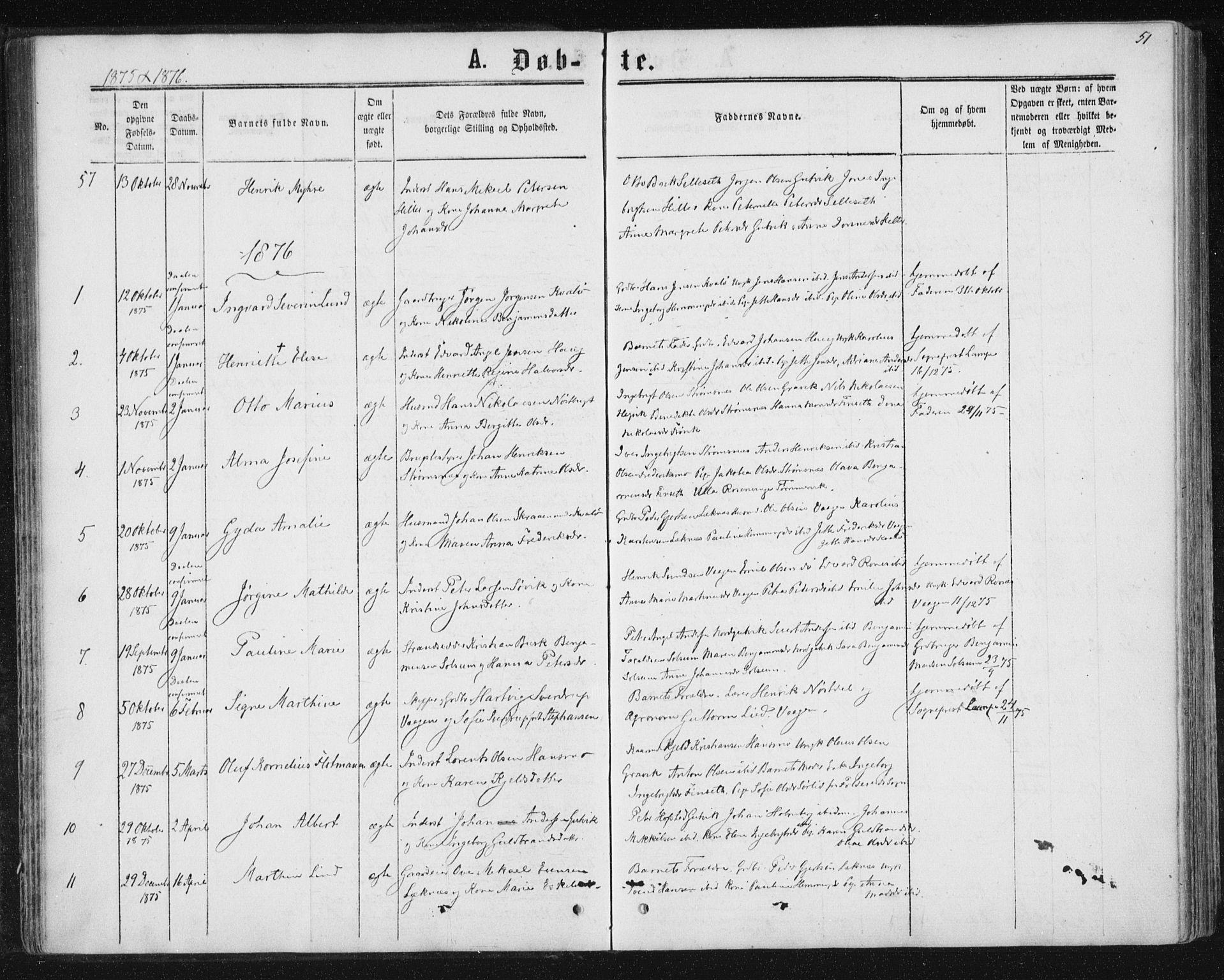 SAT, Ministerialprotokoller, klokkerbøker og fødselsregistre - Nord-Trøndelag, 788/L0696: Ministerialbok nr. 788A03, 1863-1877, s. 51