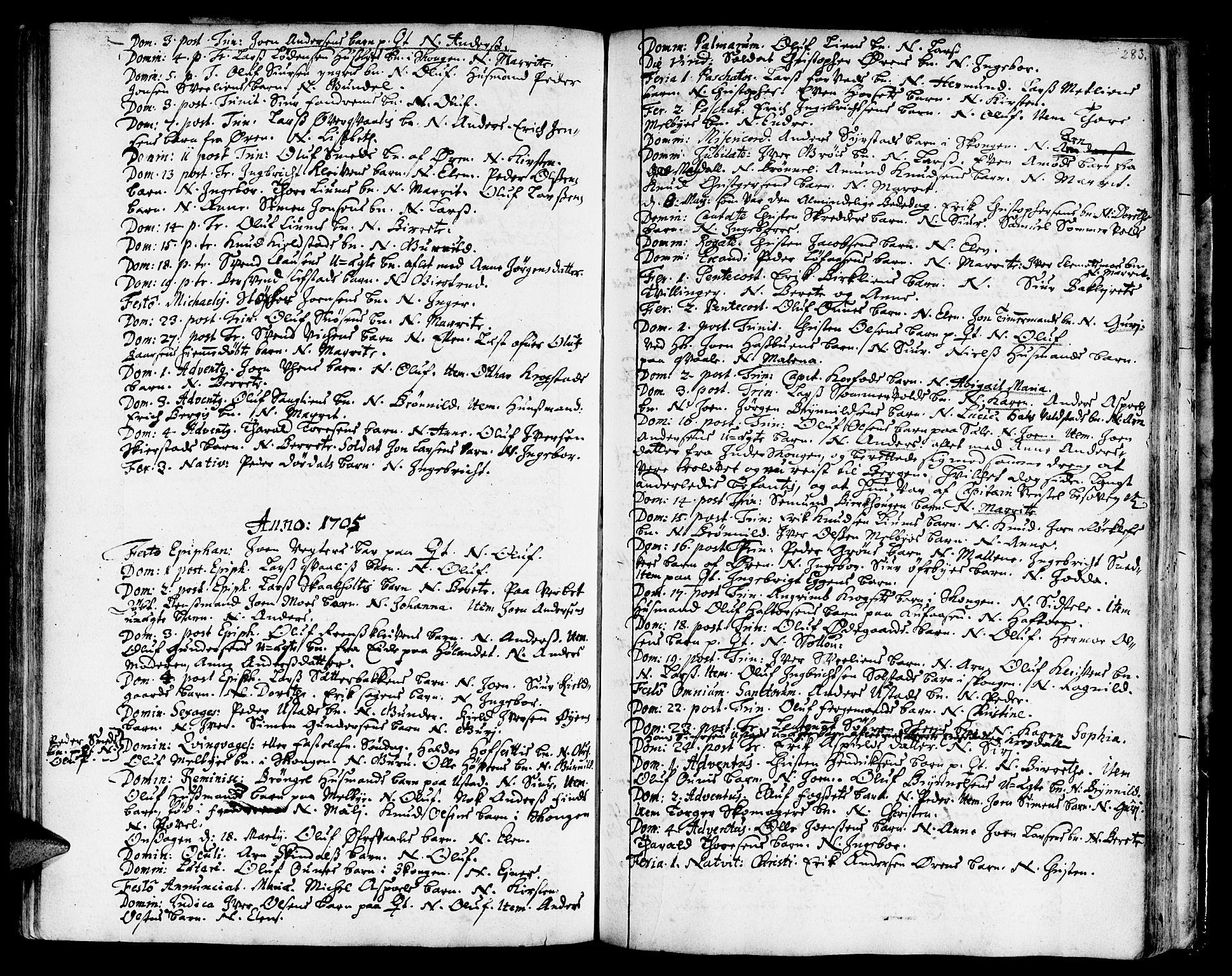 SAT, Ministerialprotokoller, klokkerbøker og fødselsregistre - Sør-Trøndelag, 668/L0801: Ministerialbok nr. 668A01, 1695-1716, s. 282-283