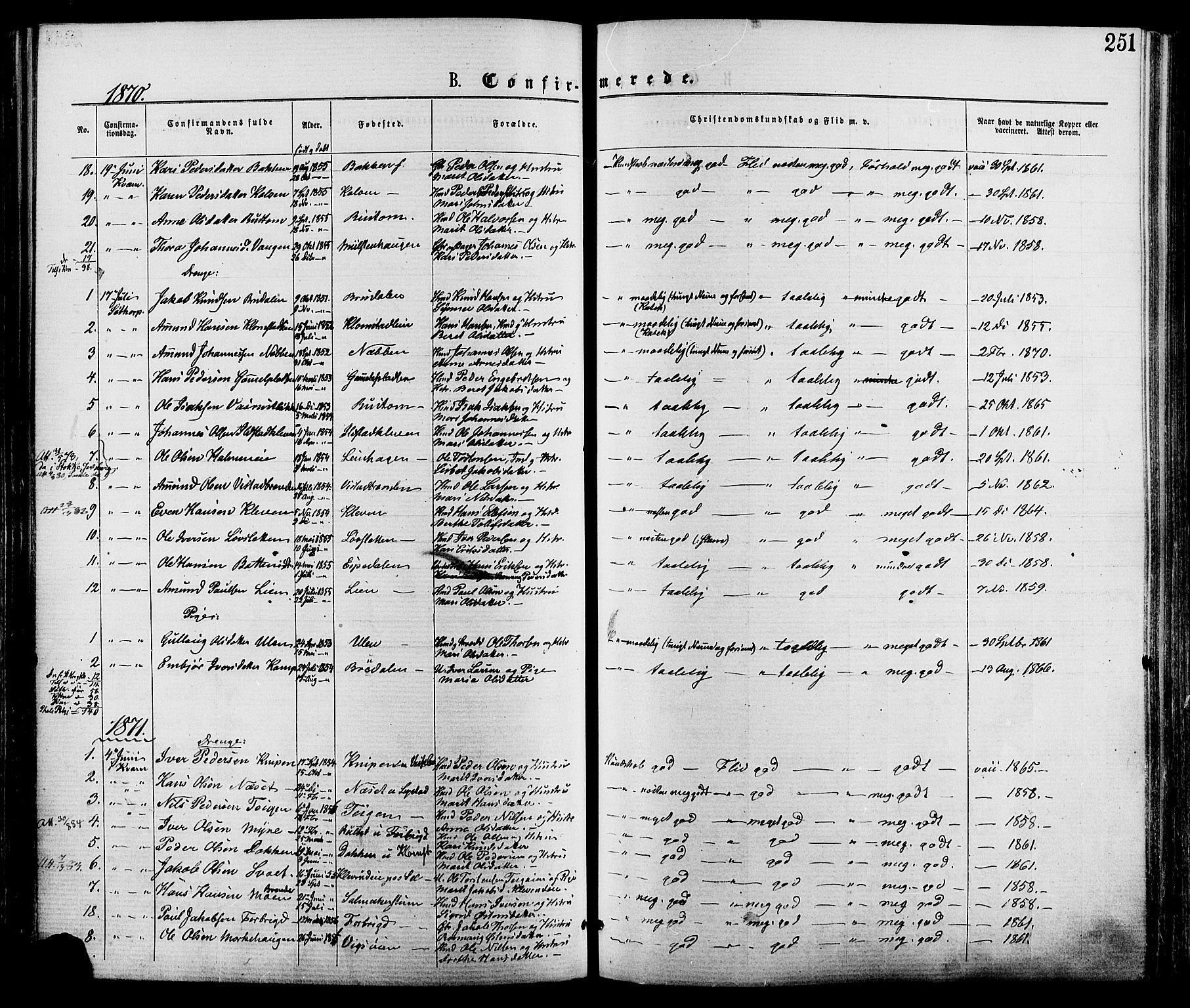 SAH, Nord-Fron prestekontor, Ministerialbok nr. 2, 1865-1883, s. 251