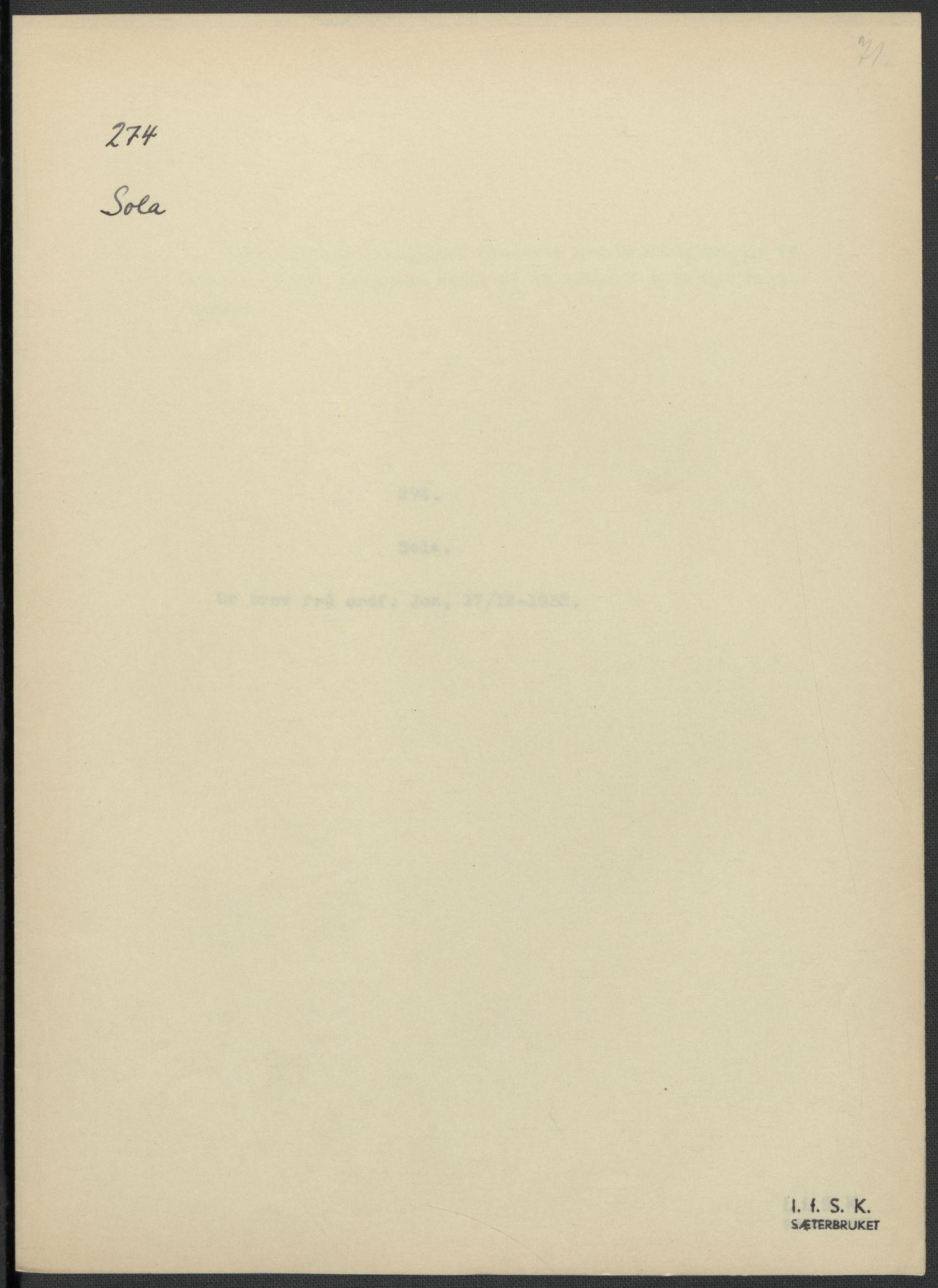 RA, Instituttet for sammenlignende kulturforskning, F/Fc/L0009: Eske B9:, 1932-1935, s. 71