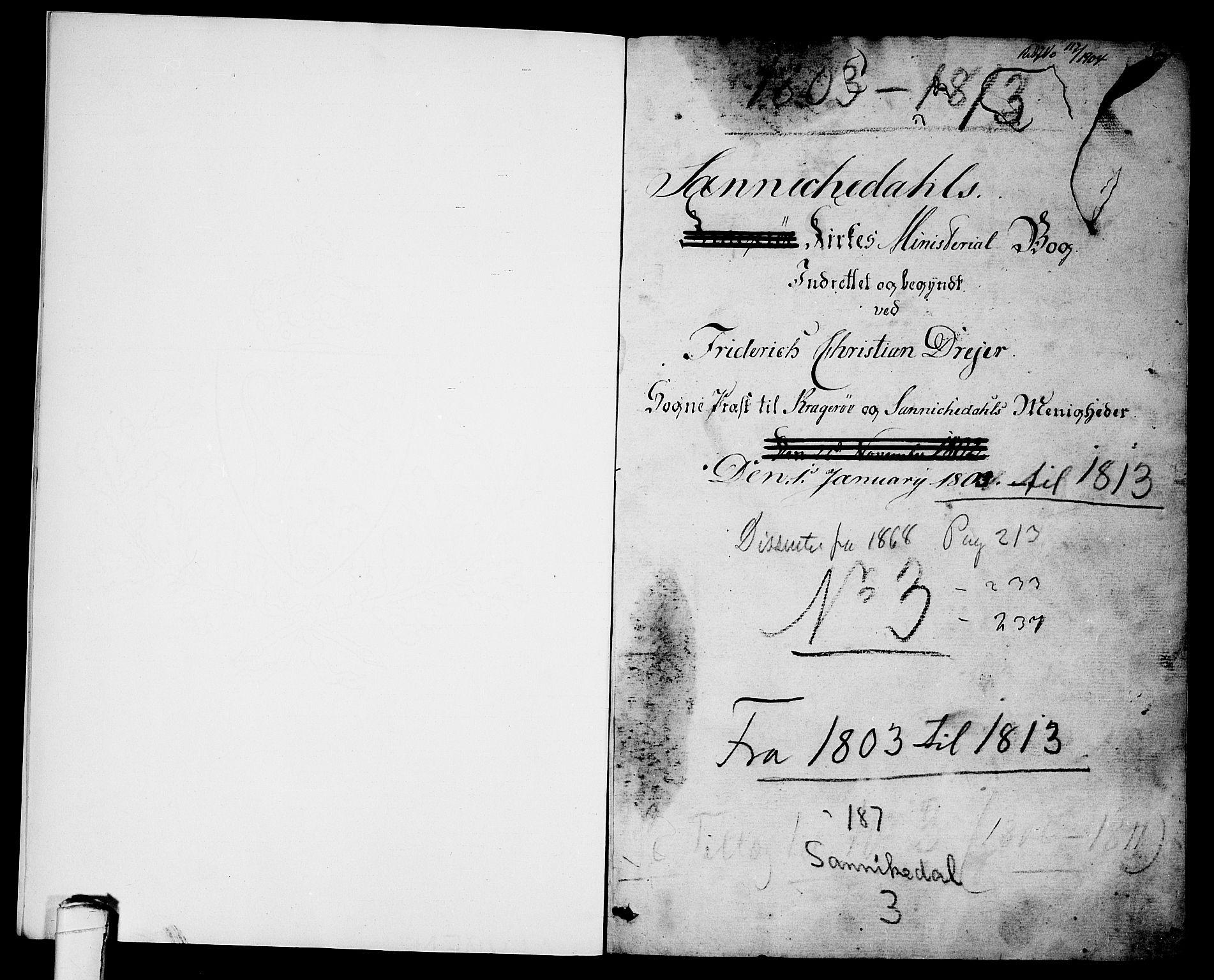 SAKO, Sannidal kirkebøker, F/Fa/L0003: Ministerialbok nr. 3, 1803-1813, s. 0-1