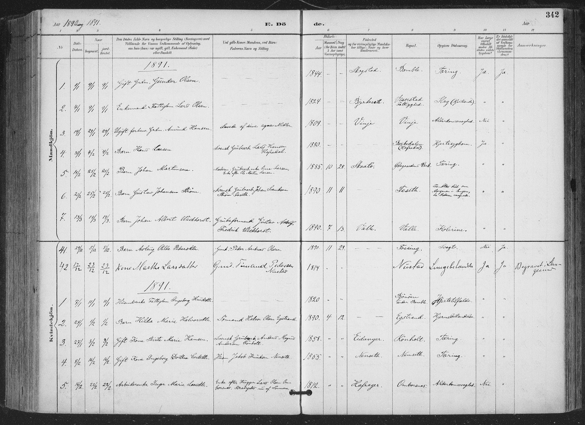 SAKO, Bamble kirkebøker, F/Fa/L0008: Ministerialbok nr. I 8, 1888-1900, s. 342
