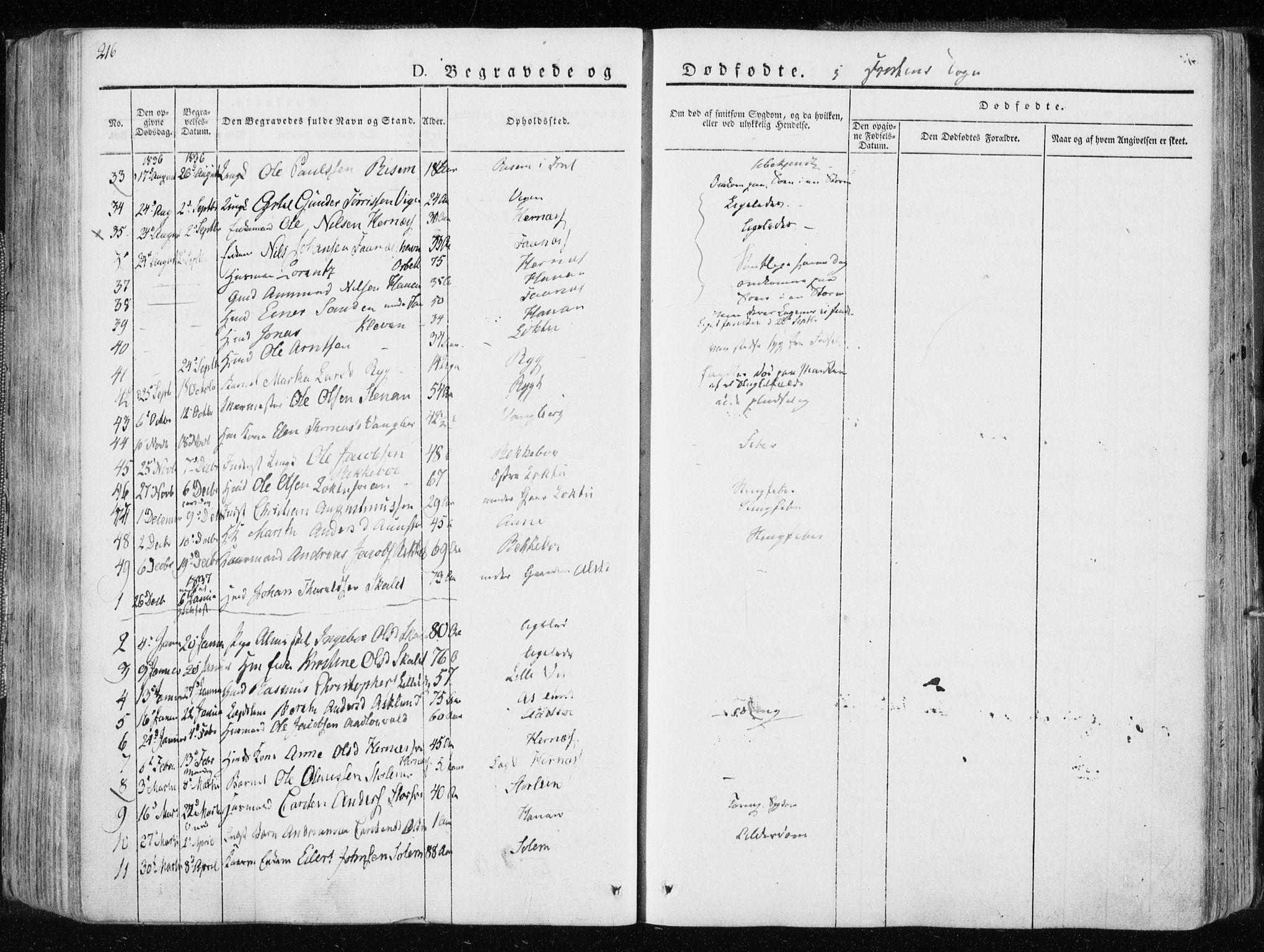 SAT, Ministerialprotokoller, klokkerbøker og fødselsregistre - Nord-Trøndelag, 713/L0114: Ministerialbok nr. 713A05, 1827-1839, s. 216