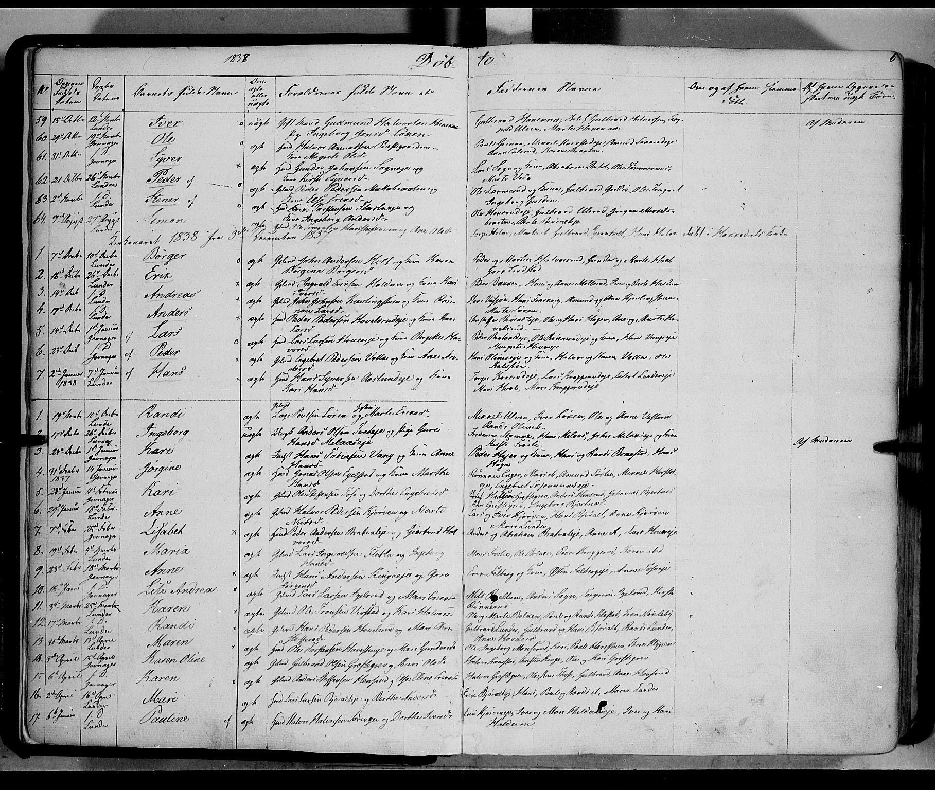 SAH, Jevnaker prestekontor, Ministerialbok nr. 6, 1837-1857, s. 6