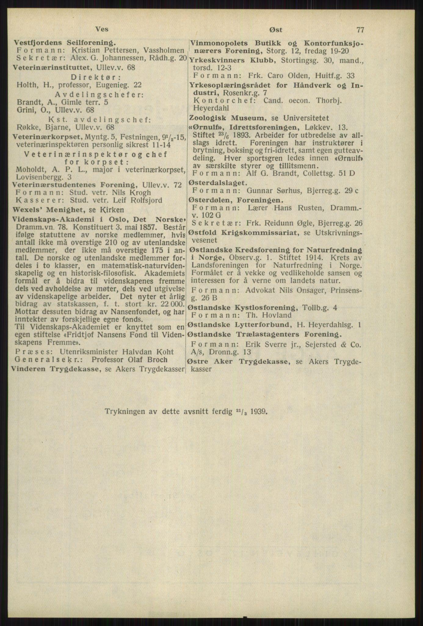 RA, Oslo adressebok (publikasjon)*, 1939, s. 77