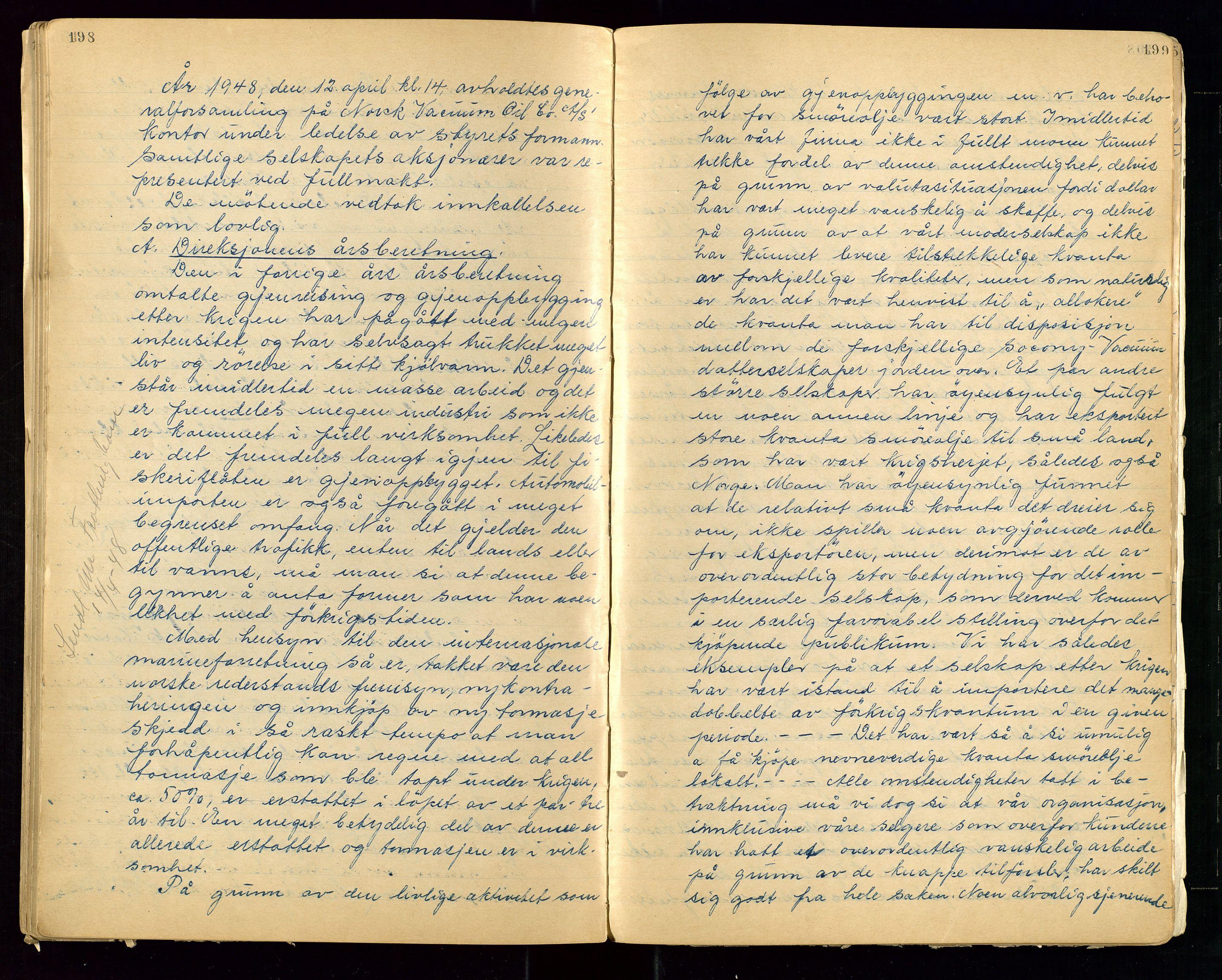 """SAST, PA 1513 - Norsk Vacuum Oil Company A/S, A/L0001: """"Generalforsamlings og styreprotokoll"""" fra 27/4-1918 til 6/4-1949, 1918-1949, s. 198-199"""