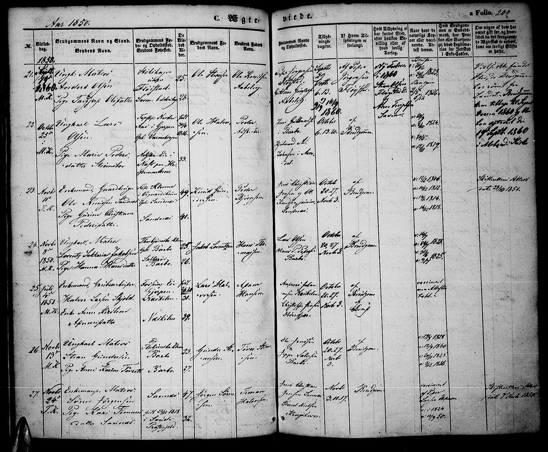 SAK, Tromøy sokneprestkontor, F/Fa/L0005: Ministerialbok nr. A 5, 1847-1856, s. 200