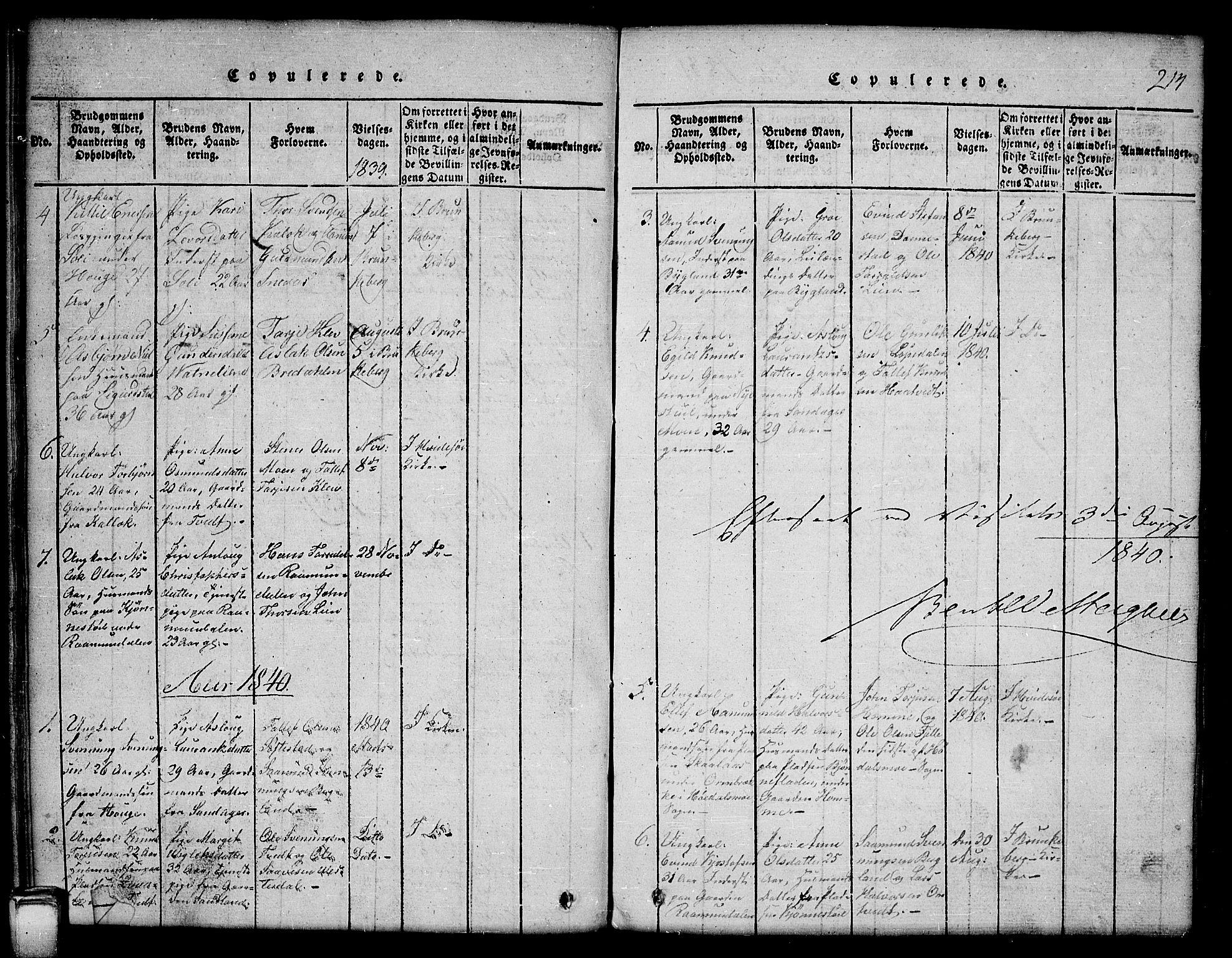 SAKO, Kviteseid kirkebøker, G/Gb/L0001: Klokkerbok nr. II 1, 1815-1842, s. 214