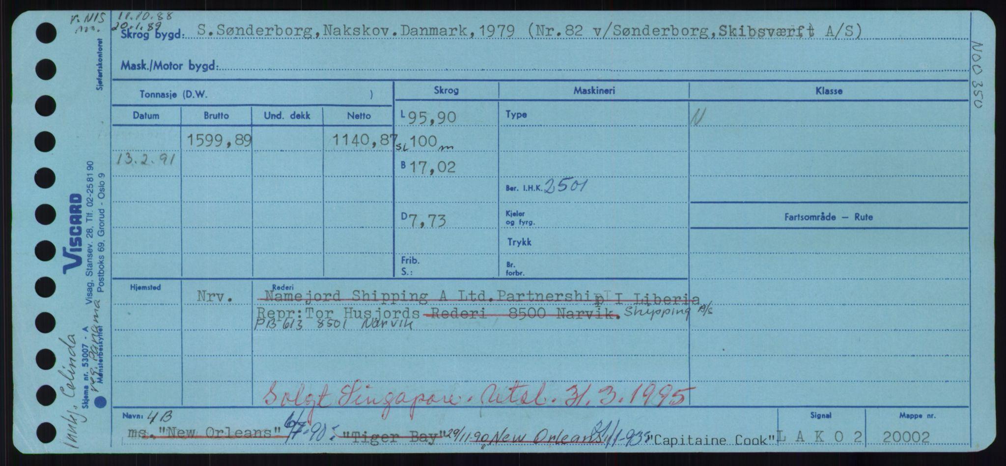 RA, Sjøfartsdirektoratet med forløpere, Skipsmålingen, H/Hd/L0007: Fartøy, C, s. 1