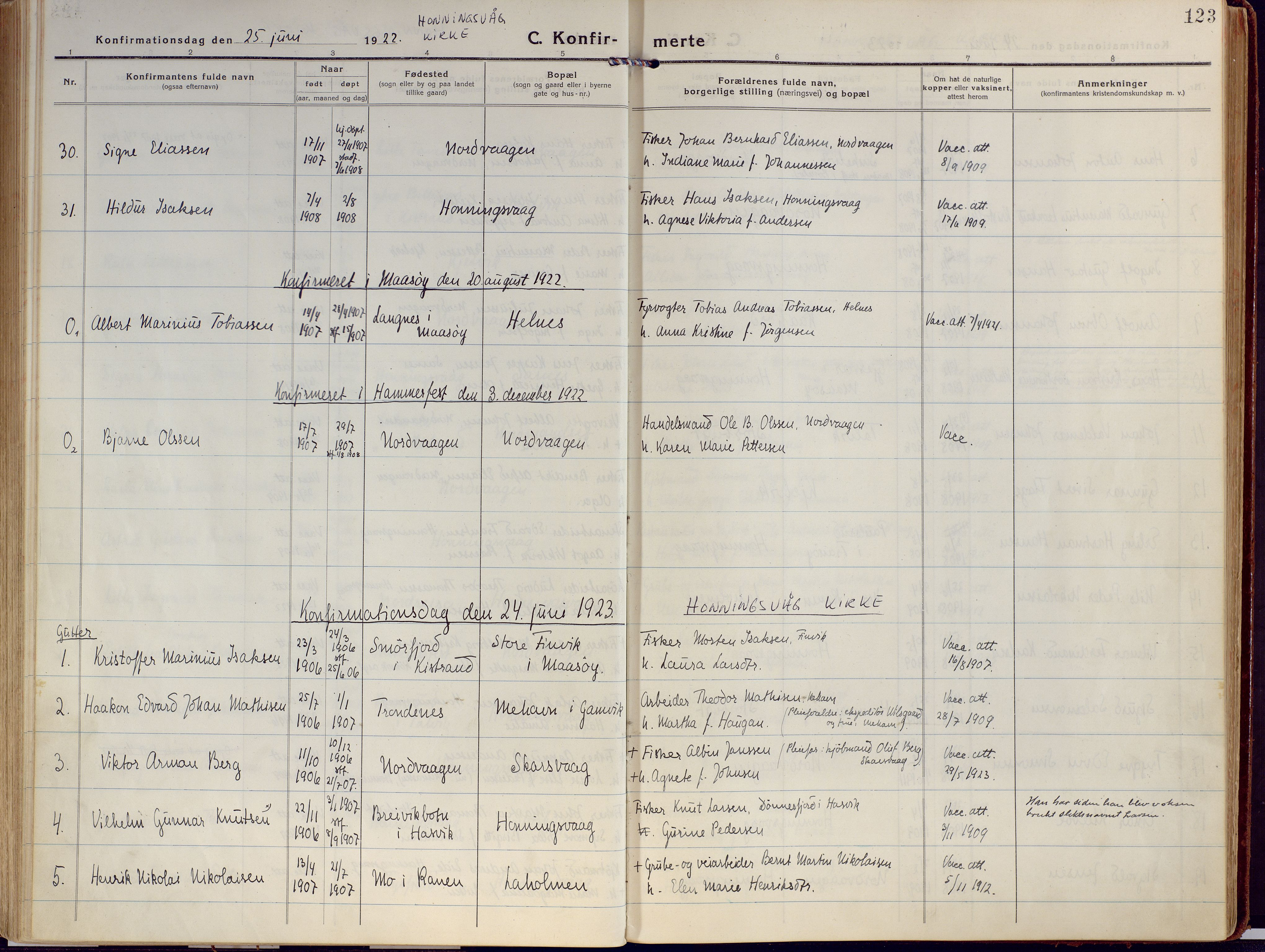 SATØ, Kjelvik/Nordkapp sokneprestkontor, H/Ha/L0002kirke: Ministerialbok nr. 2, 1920-1929, s. 123