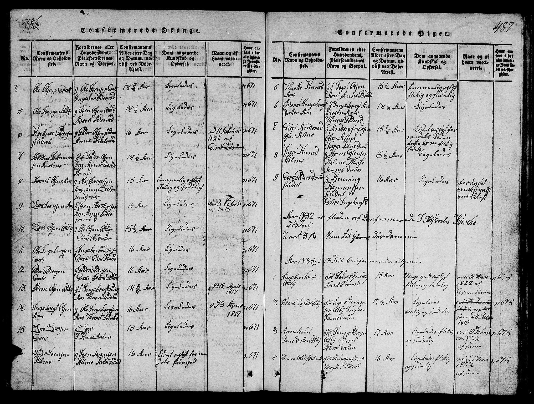 SAT, Ministerialprotokoller, klokkerbøker og fødselsregistre - Sør-Trøndelag, 698/L1164: Klokkerbok nr. 698C01, 1816-1861, s. 486-487