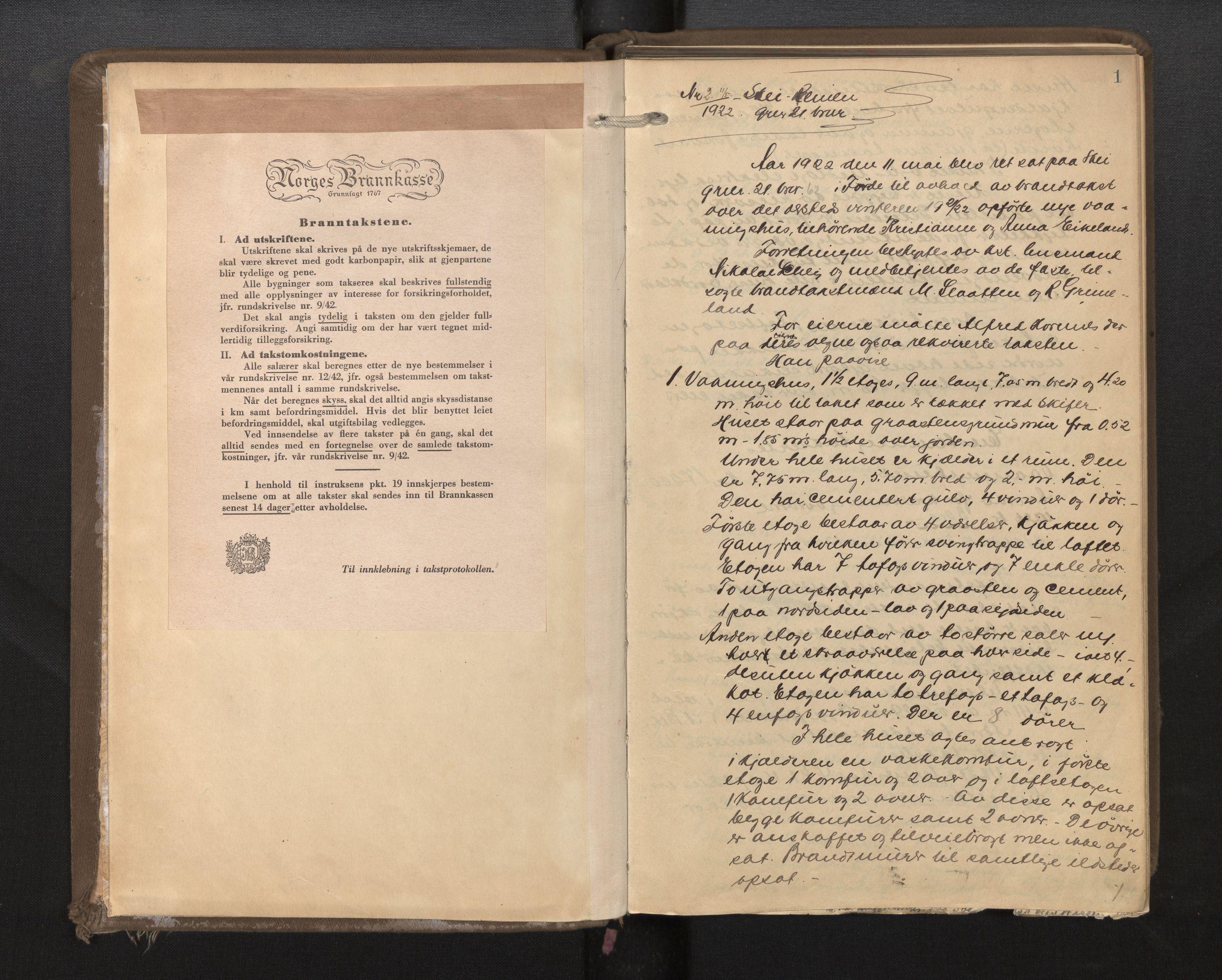 SAB, Lensmannen i Førde, 0012/L0002a: Branntakstprotokoll, 1922-1948, s. 1