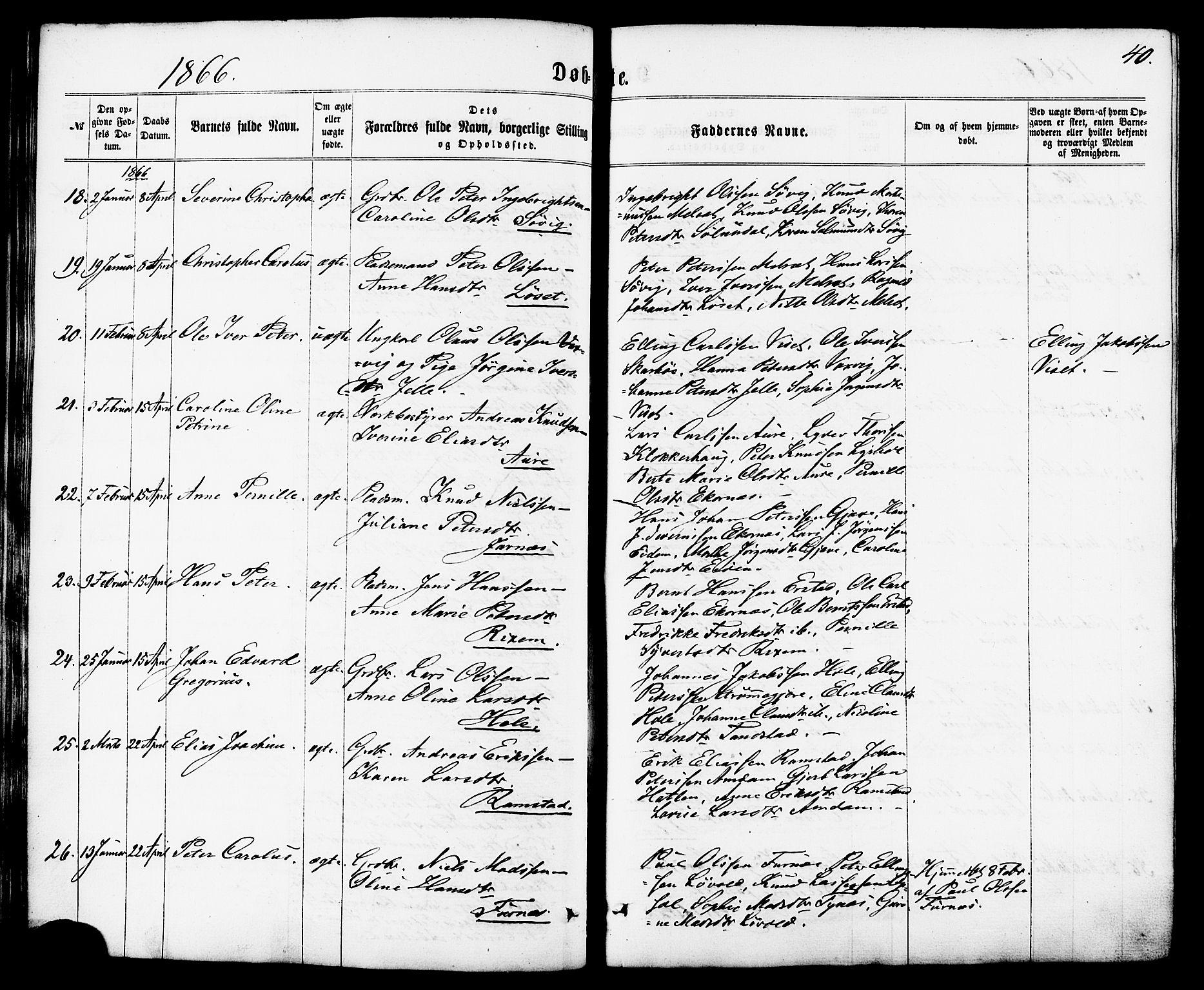 SAT, Ministerialprotokoller, klokkerbøker og fødselsregistre - Møre og Romsdal, 522/L0314: Ministerialbok nr. 522A09, 1863-1877, s. 40