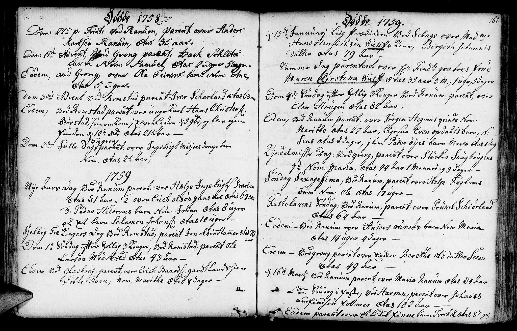 SAT, Ministerialprotokoller, klokkerbøker og fødselsregistre - Nord-Trøndelag, 764/L0542: Ministerialbok nr. 764A02, 1748-1779, s. 167