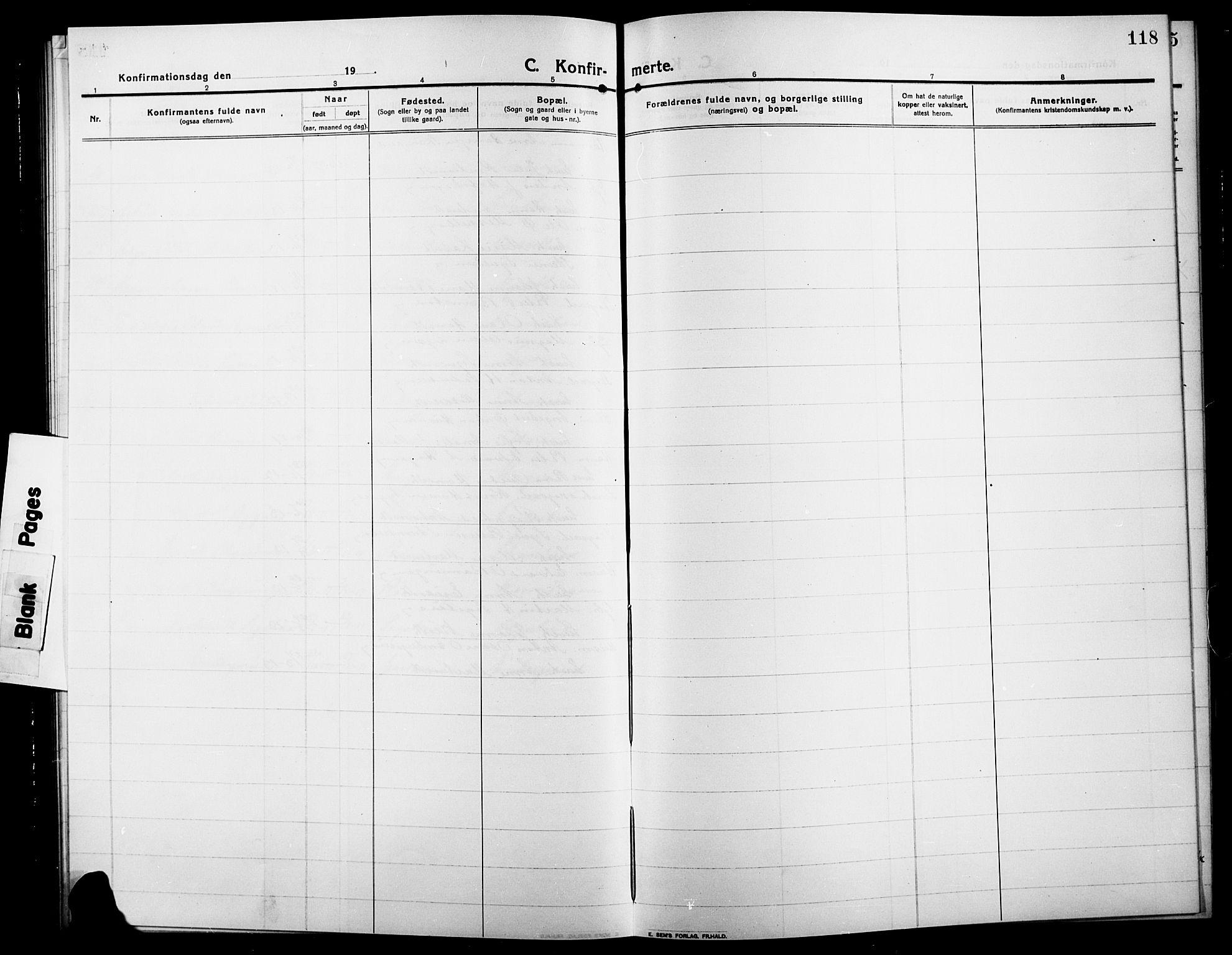 SAH, Søndre Land prestekontor, L/L0006: Klokkerbok nr. 6, 1912-1925, s. 118