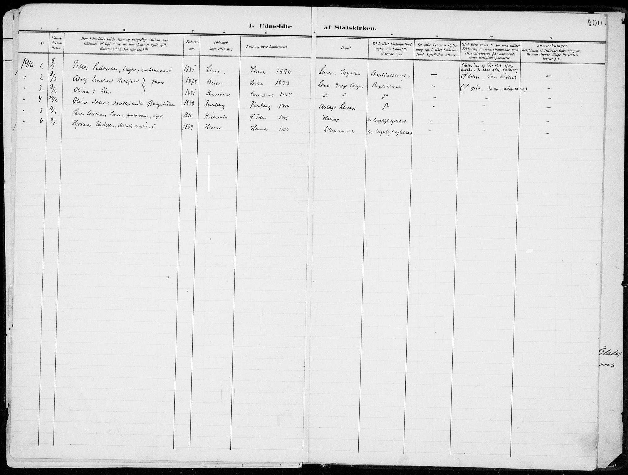 SAH, Lillehammer prestekontor, Ministerialbok nr. 1, 1901-1916, s. 400