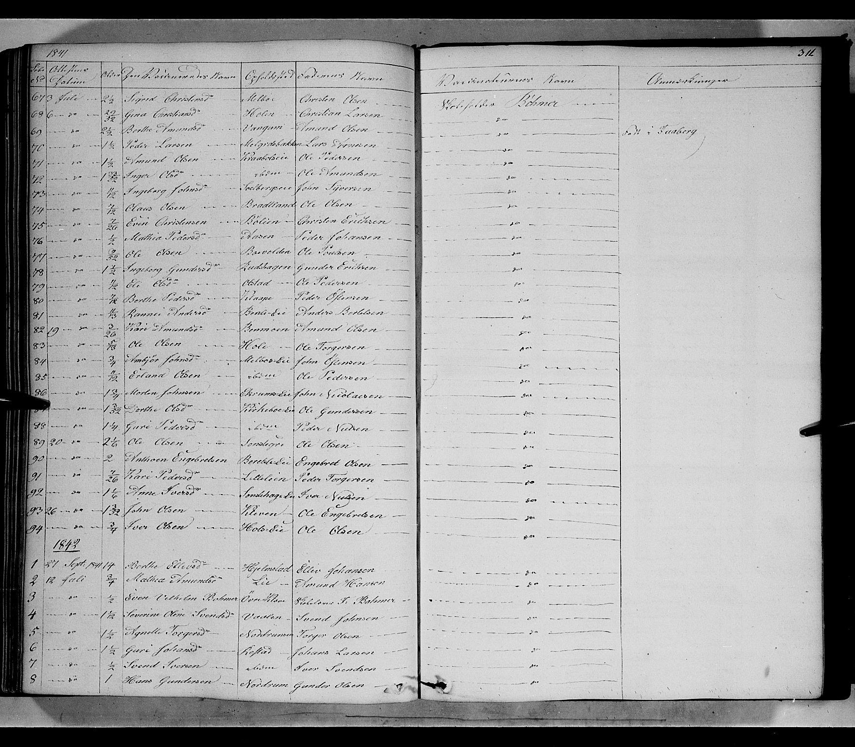 SAH, Gausdal prestekontor, Ministerialbok nr. 7, 1840-1850, s. 311