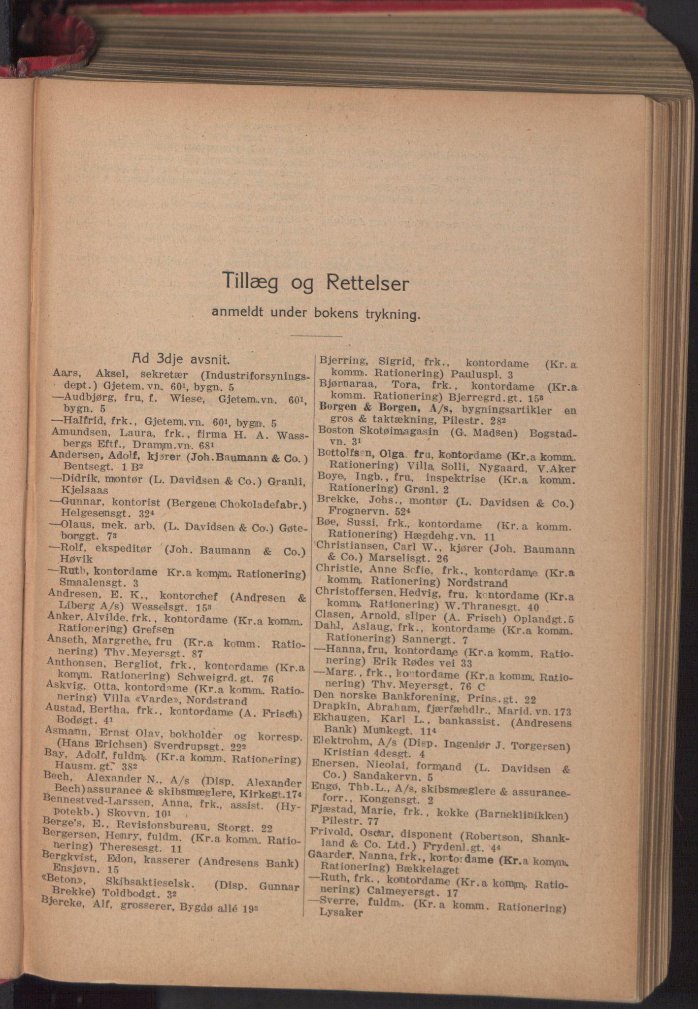 RA, Kristiania adressebok (publikasjon)*, 1918, s. upaginert