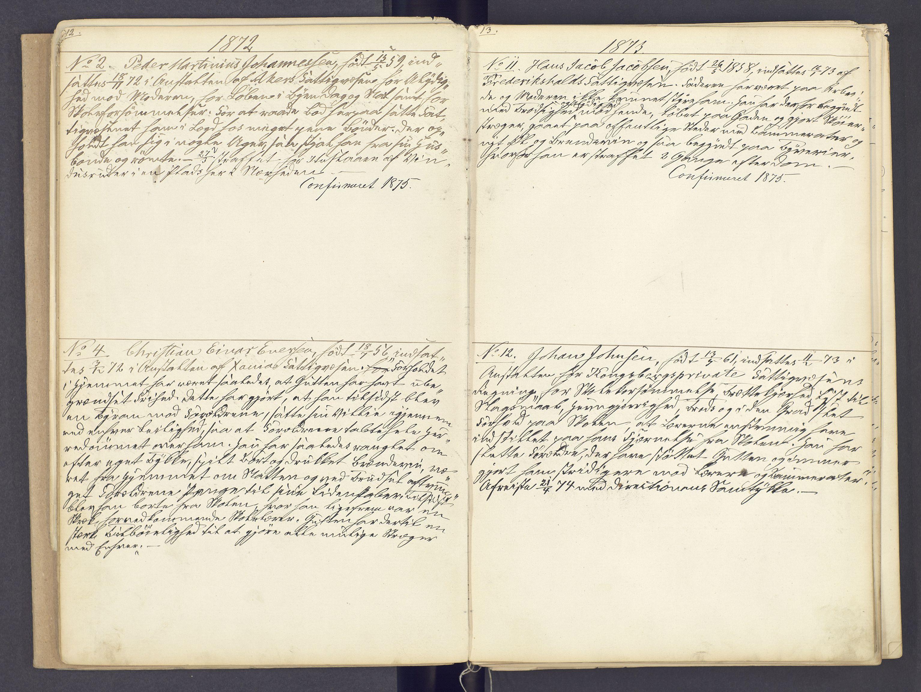 SAH, Toftes Gave, F/Fc/L0002: Elevprotokoll, 1870-1885, s. 12-13