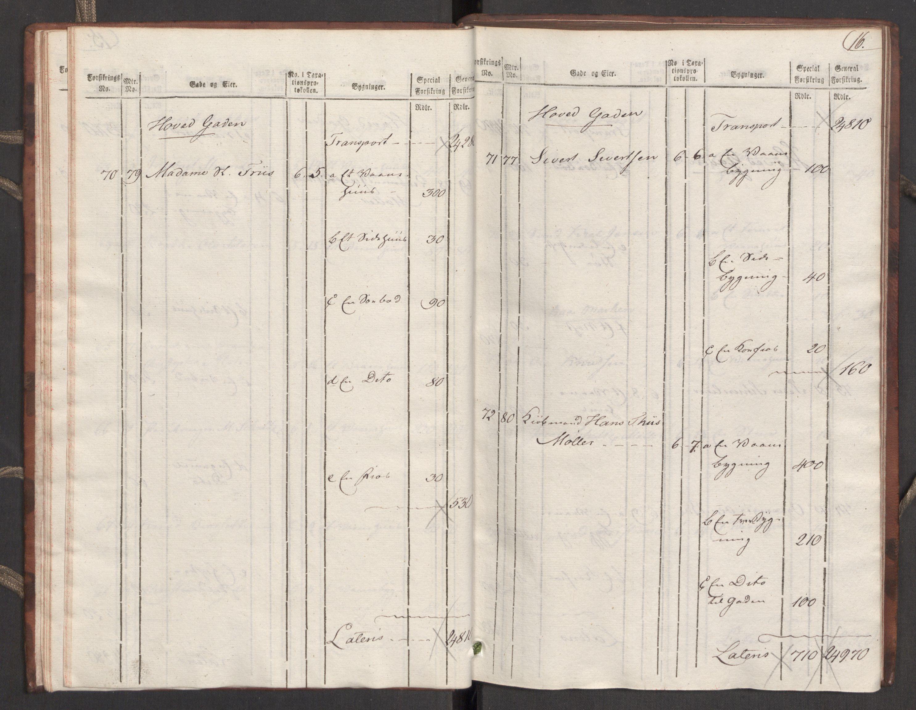 RA, Kommersekollegiet, Brannforsikringskontoret 1767-1814, F/Fa/L0039: Molde, 1807-1817